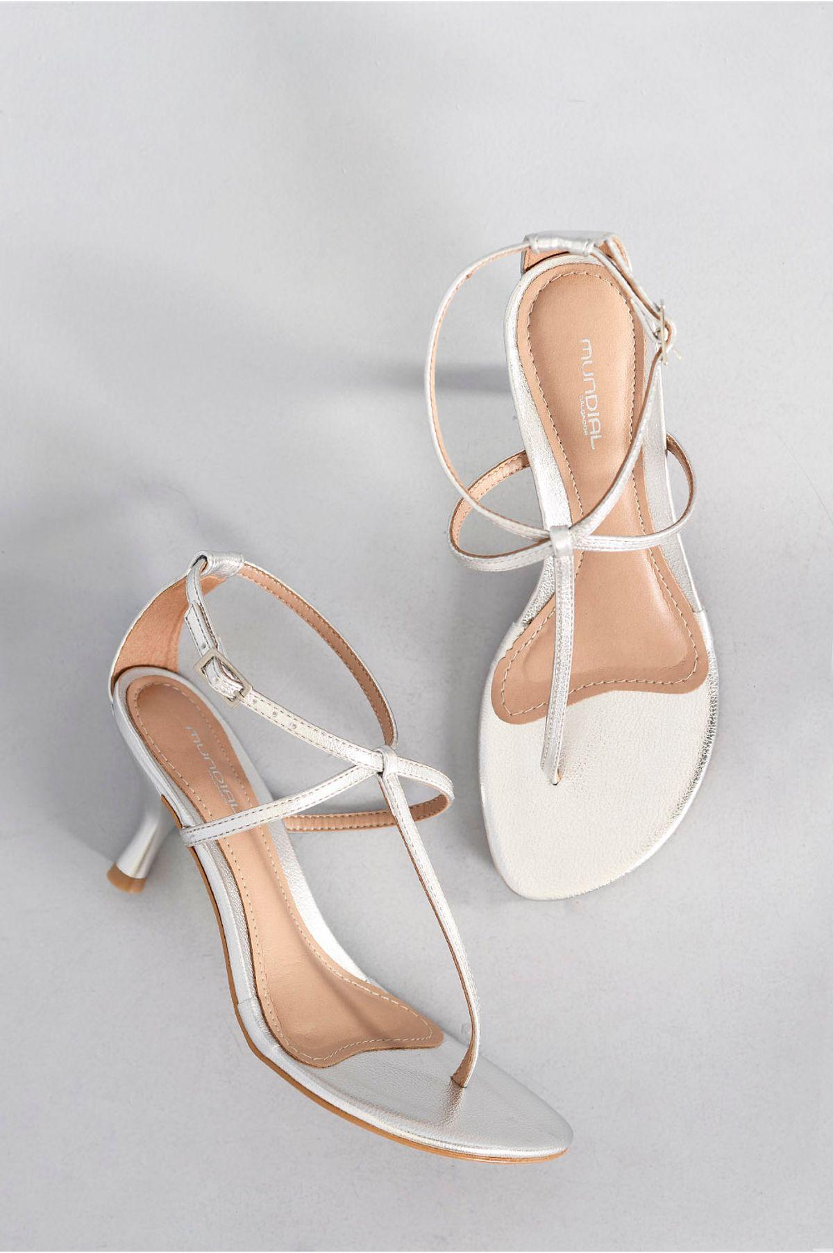 4a1b0b0e66 Sandália Feminina Salto Médio Marilyn Mundial PRATA - Mundial Calçados