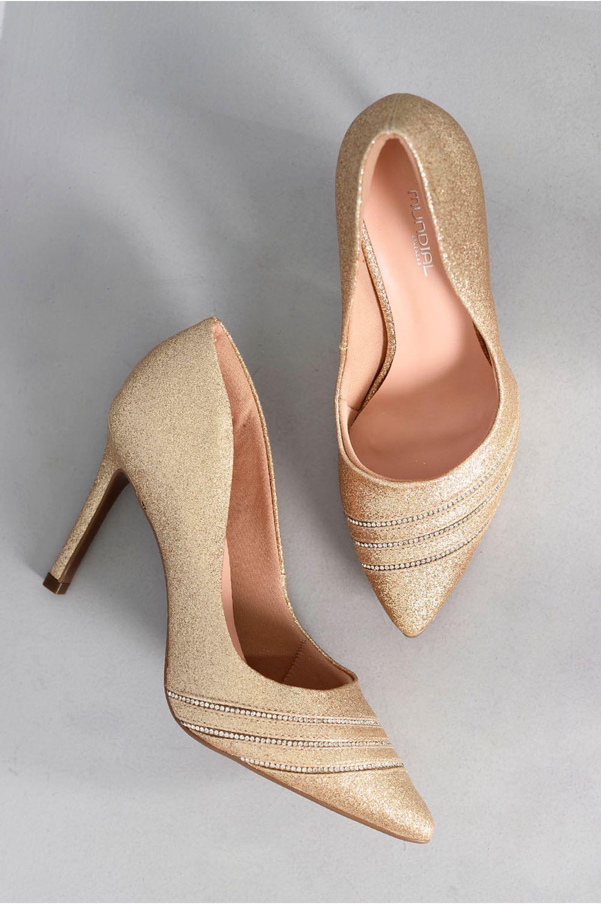 c02b067cb2 Scarpin Feminino Salto Alto Pearlie Mundial OURO - Mundial Calçados