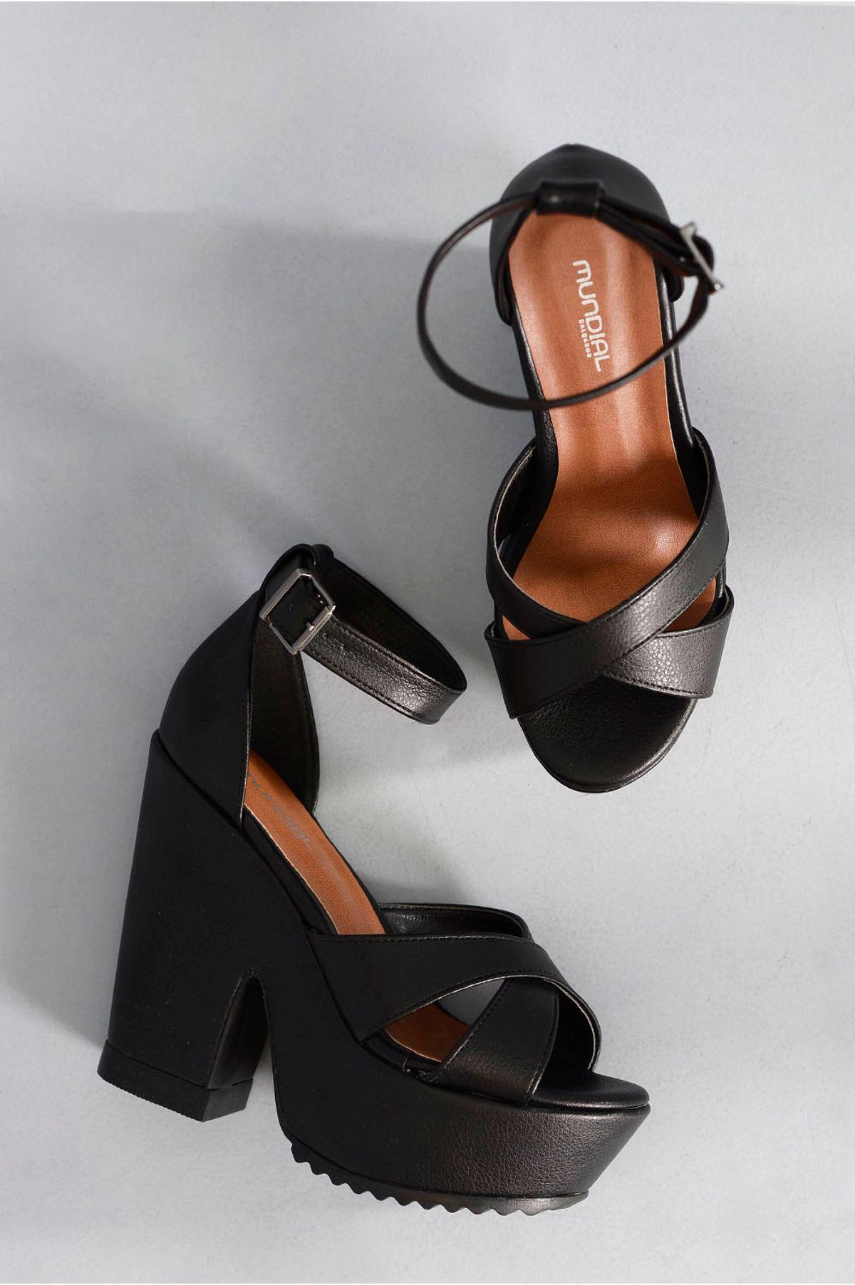 6e9028be3c Sandália Feminina Salto Alto Margret Mundial PRETO - Mundial Calçados