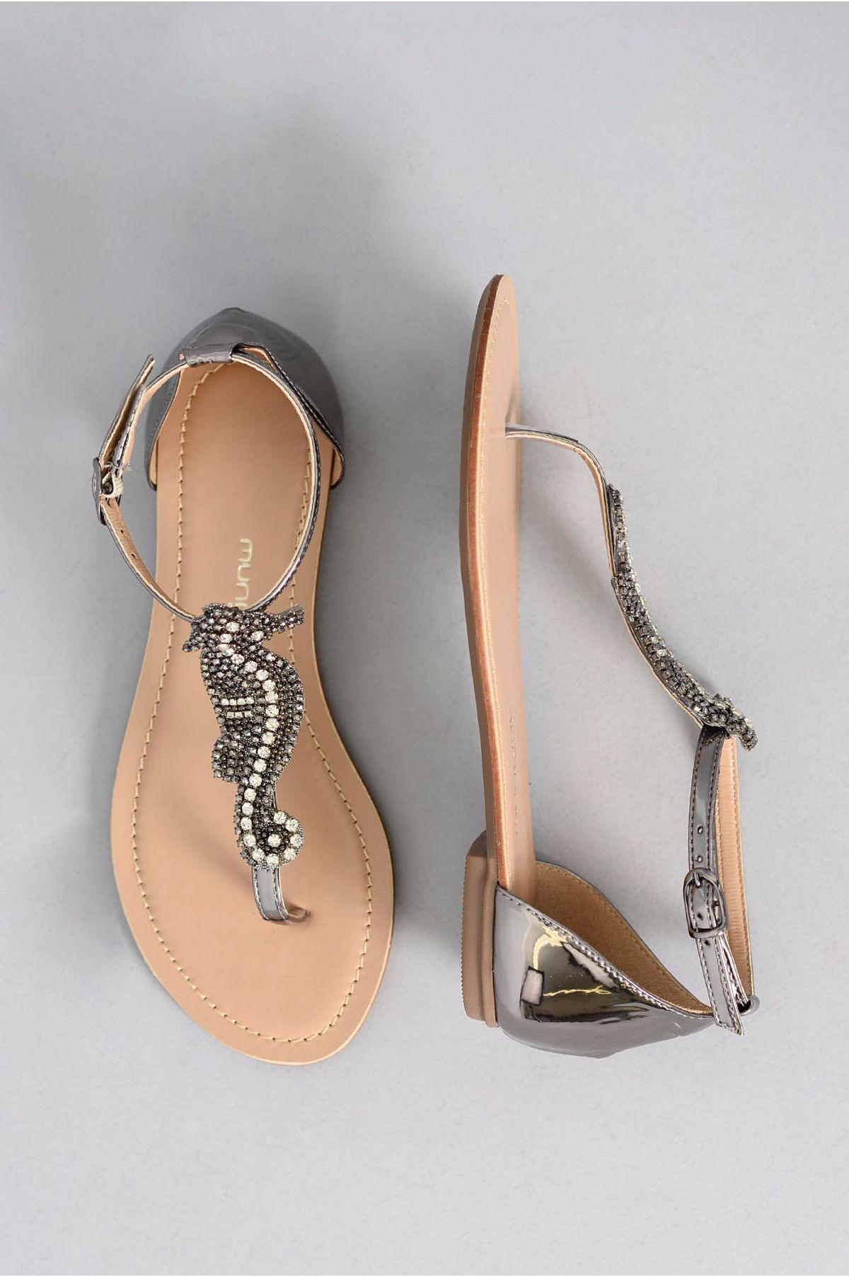 0c61d06485 Sandália Feminina Rasteira Molie Mundial GRAFITE - Mundial Calçados