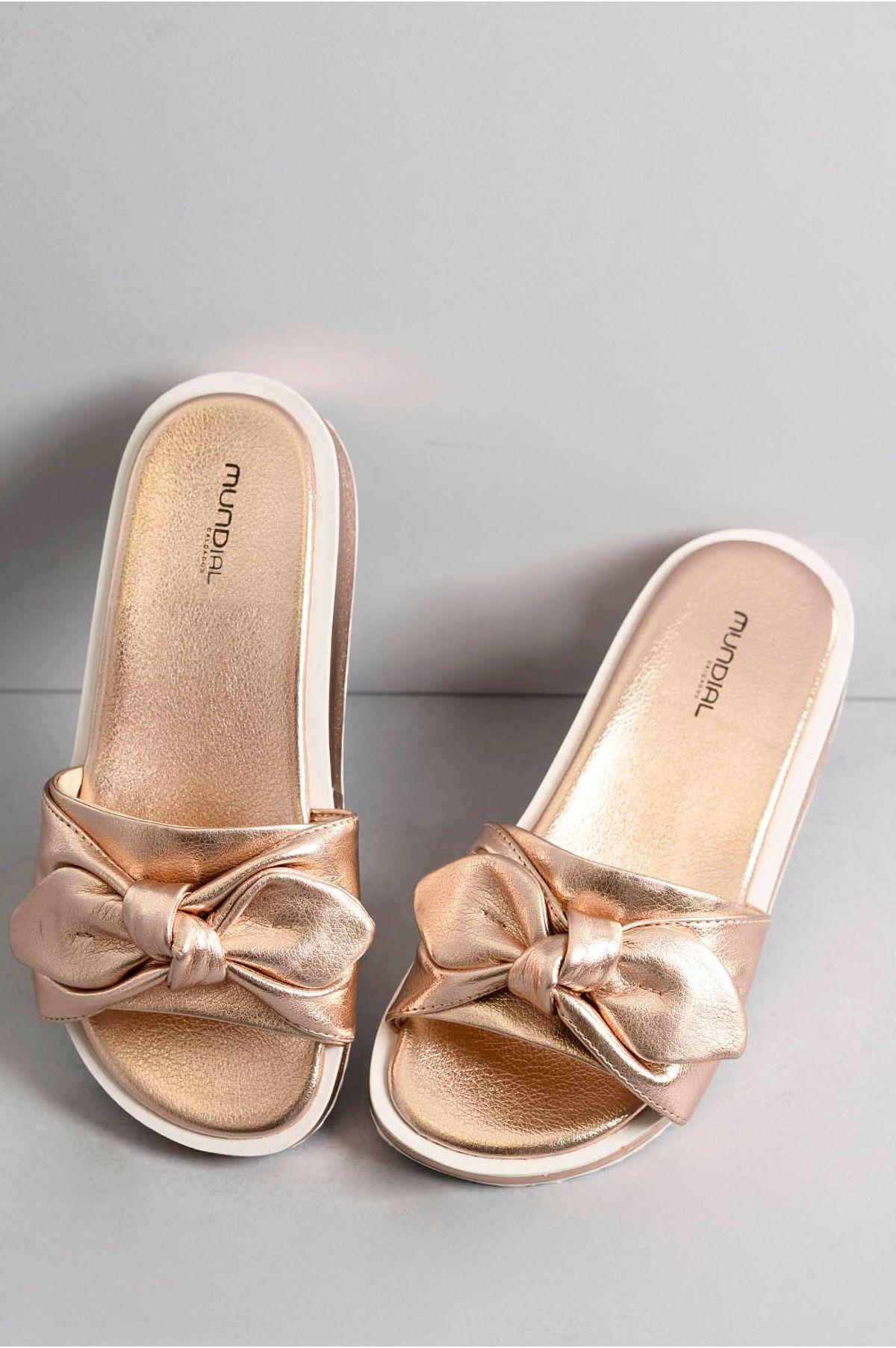 ba16dfc7e1 Chinelo Feminino Amberly Mundial COBRE - Mundial Calçados