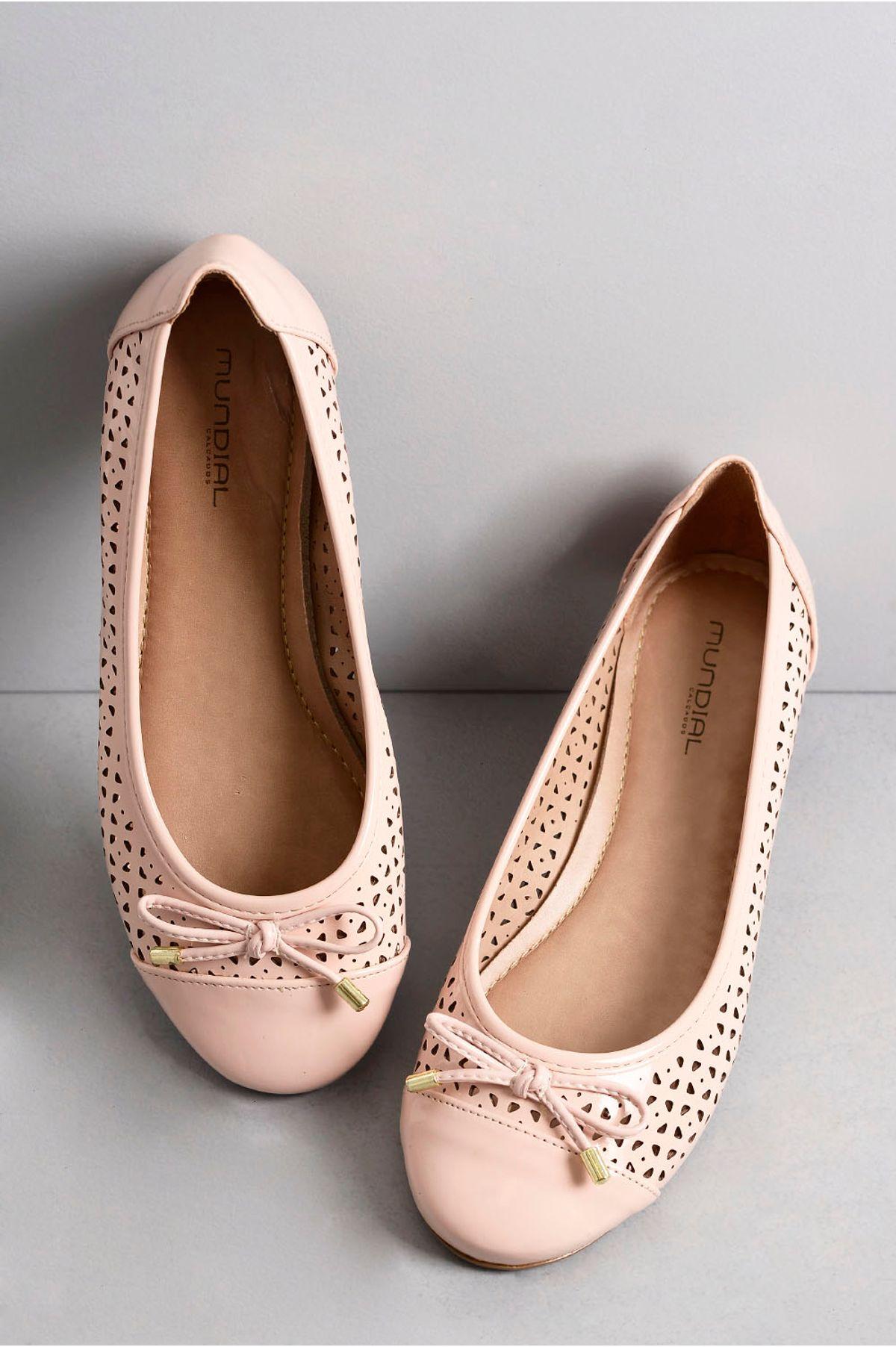 2291f9a0e Sapatilha Feminina Bico Redondo Kely Mundial ROSA - Mundial Calçados