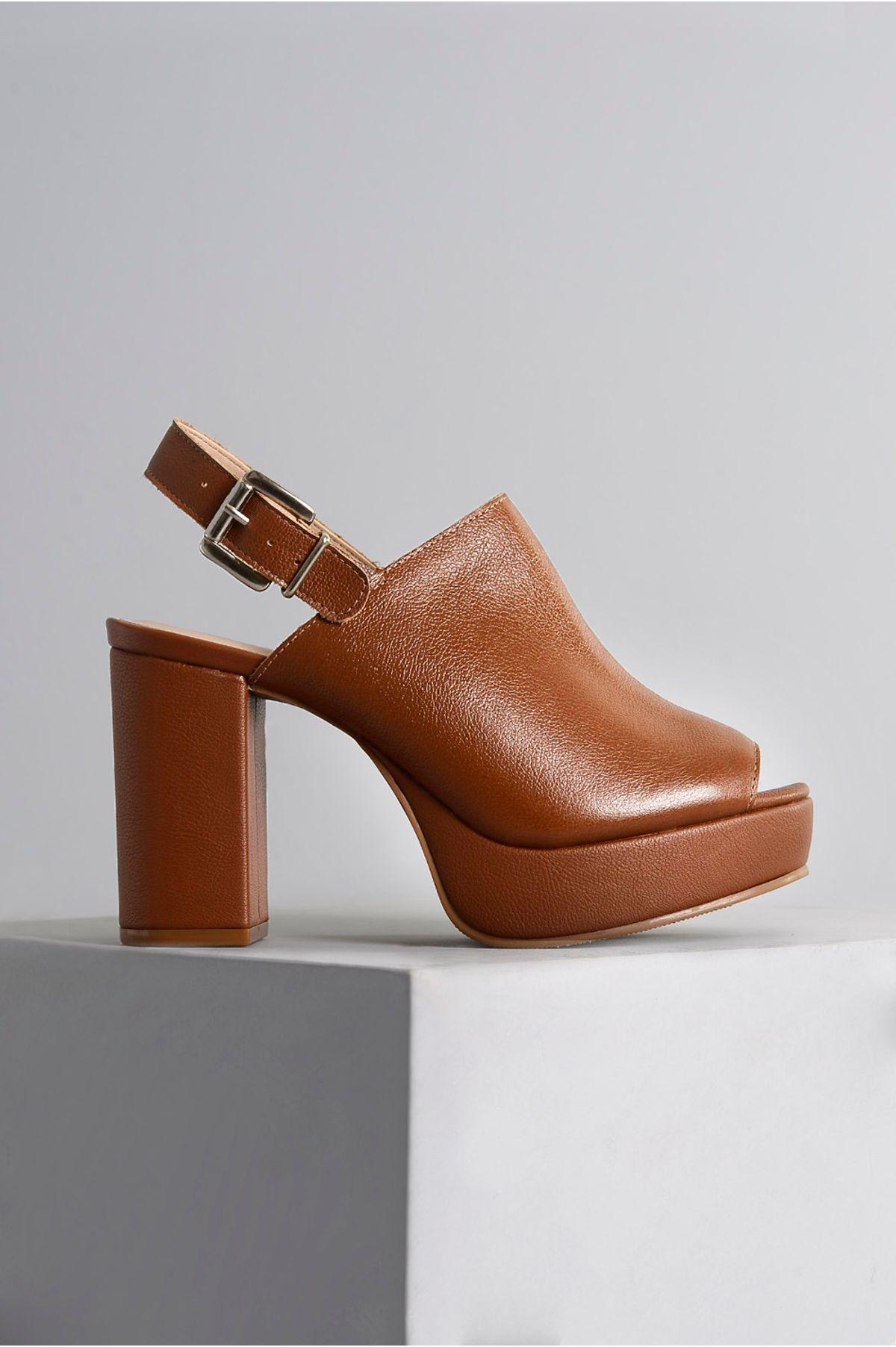 2ded83f60 Sandália Salto Alto Clara Mundial CR-CARAMELO - Mundial Calçados