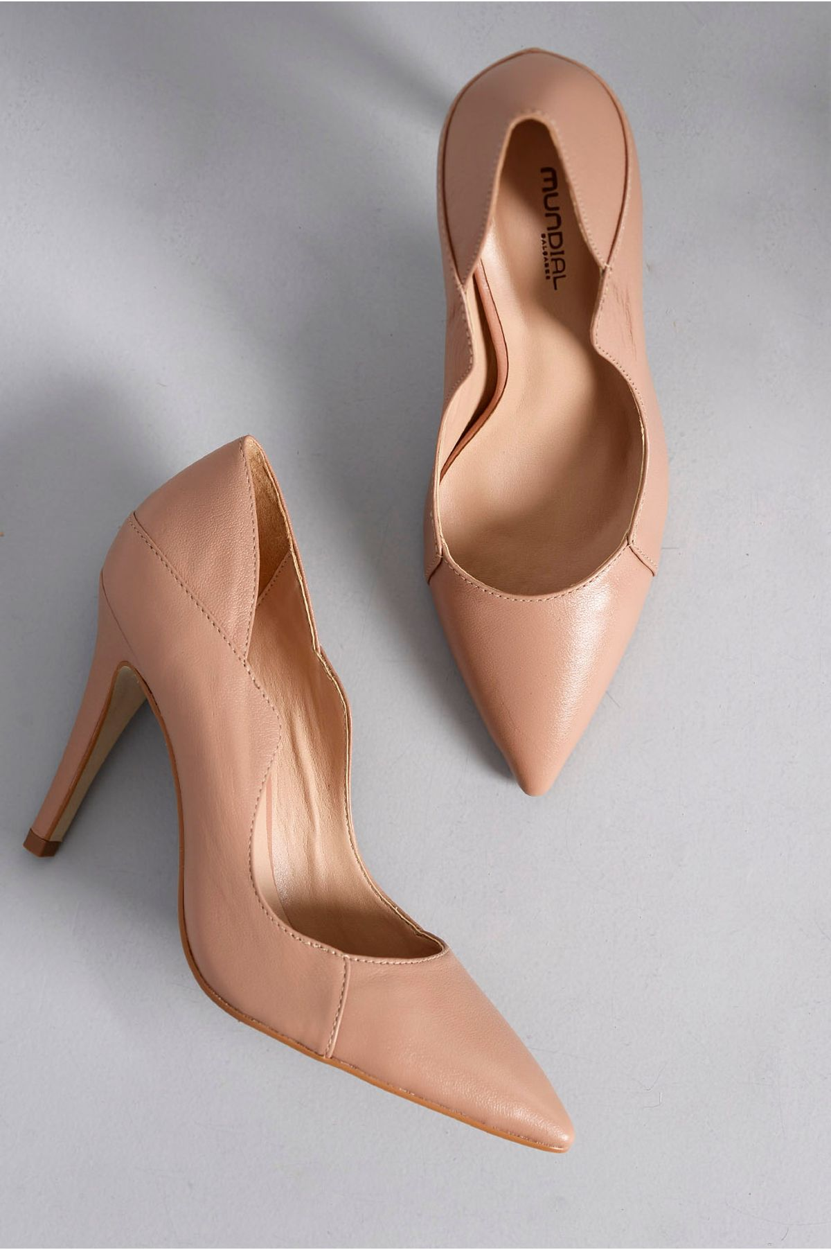 70133f3d35 Scarpin Feminino Salto Alto Faye Mundial CR - NUDE - Mundial Calçados