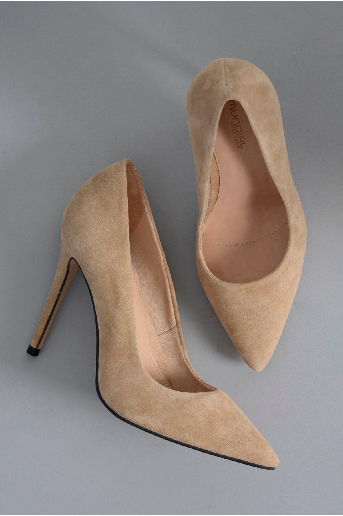 8b2a6cc78a Scarpin Feminino Salto Alto Phylis Mundial CAM - BEGE - Mundial Calçados