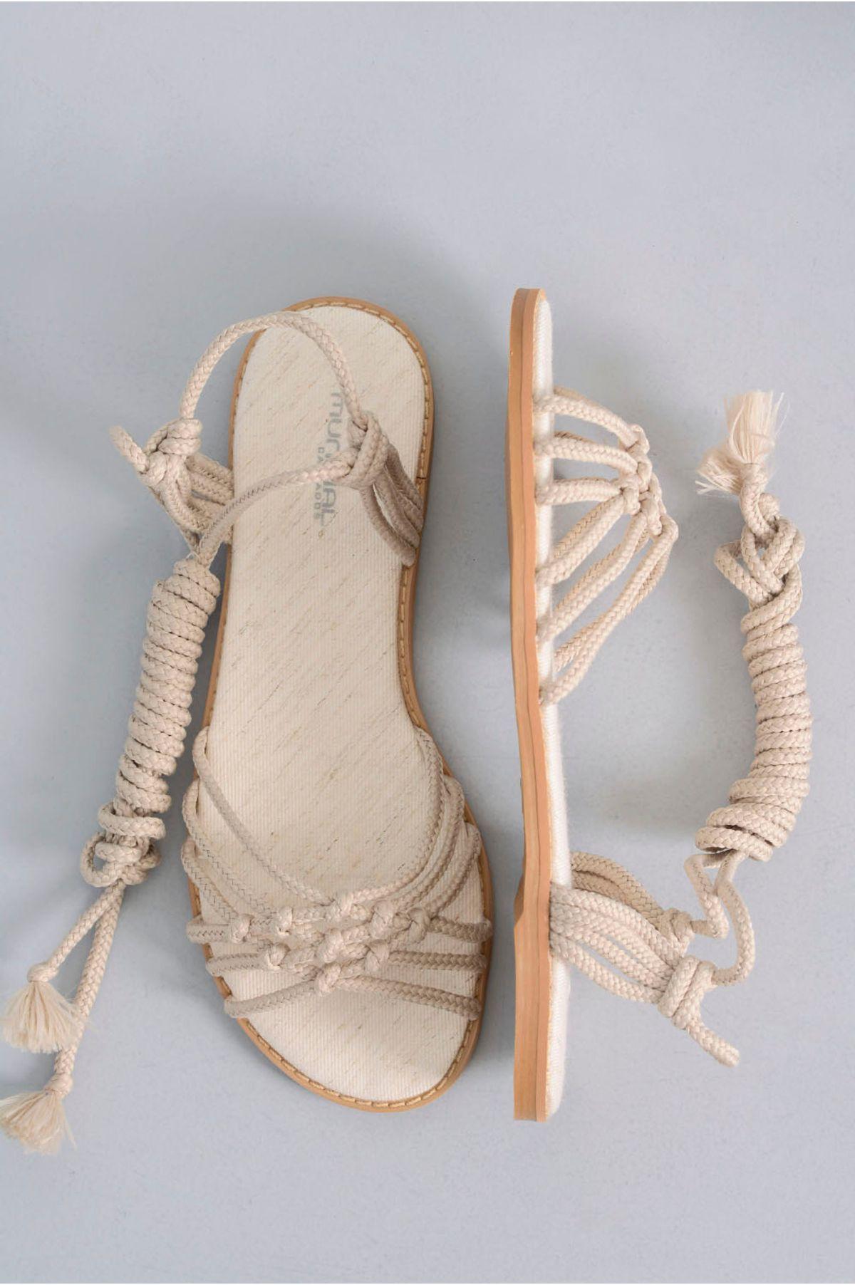 489ad1af4 Sandália Feminina Rasteira Desire Mundial TEC - BEGE - Mundial Calçados
