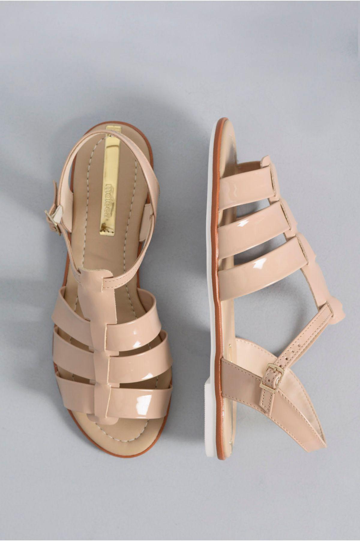 06a26c810 Sandália Feminina Rasteira Clare Moleca VERNIZ - BEGE - Mundial Calçados