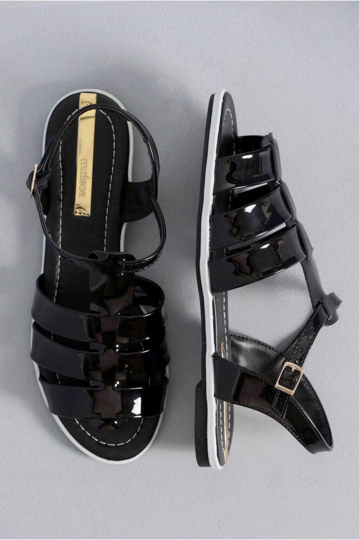 fb0c8fdc7 Sandália Feminina Rasteira Clare Moleca VERNIZ PRETO - Mundial Calçados