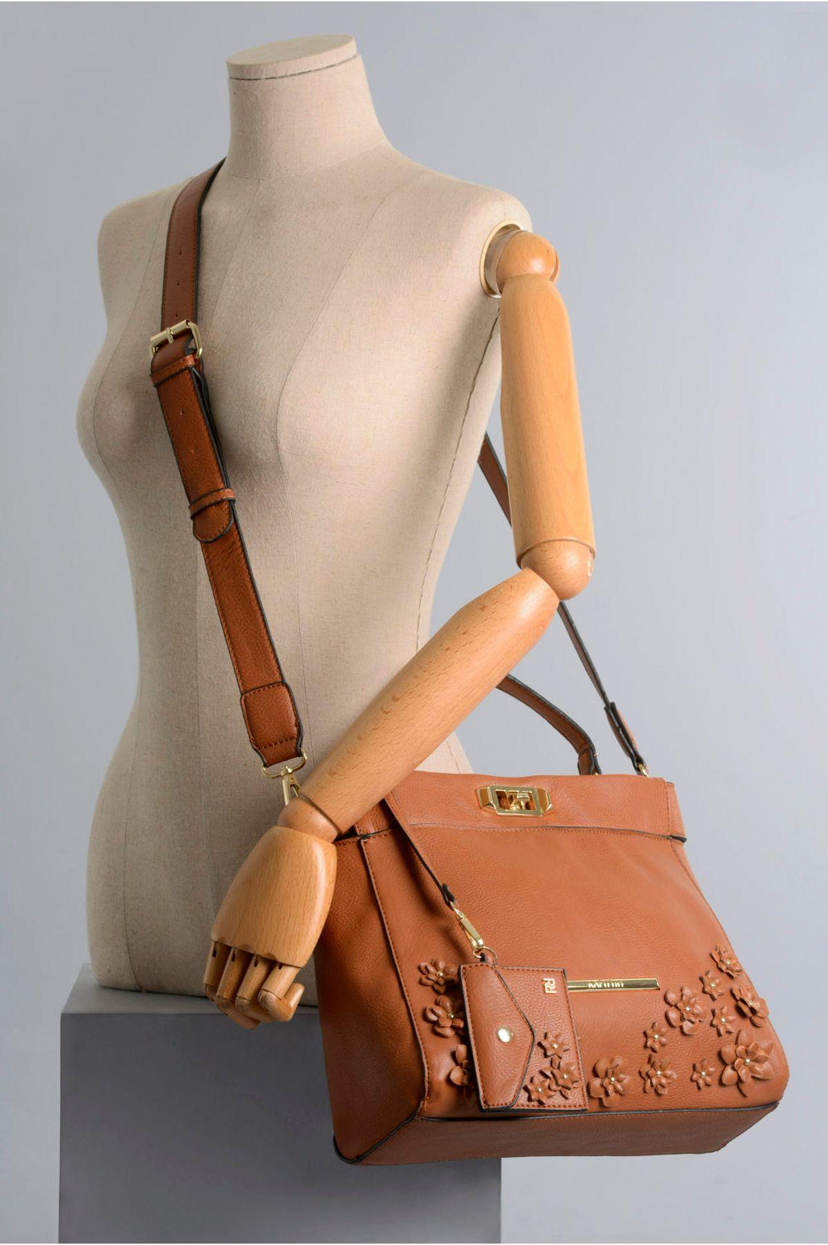 8fda4d5d8fa Bolsa Feminina Rafitthy Sheyla SINT - CARAMELO - Mundial Calçados