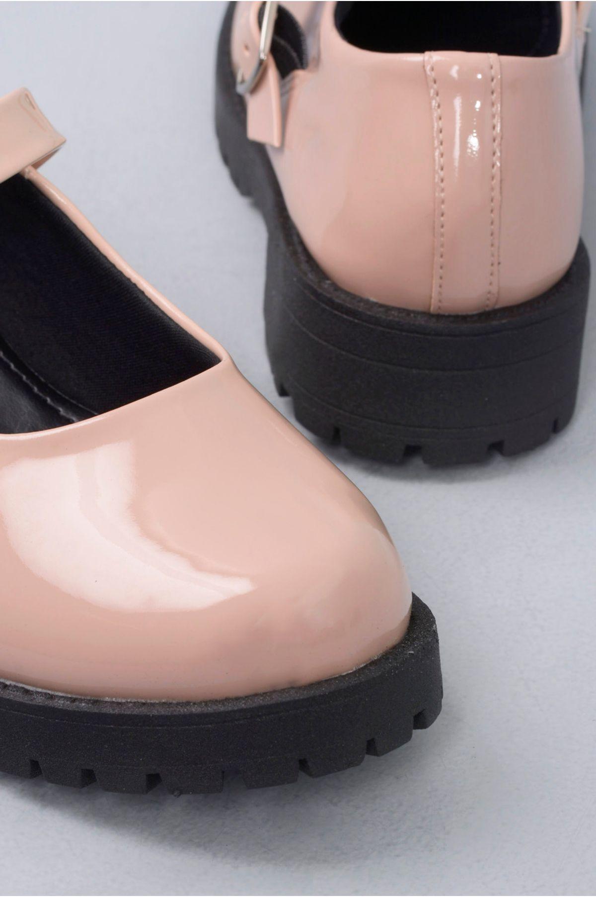 2f9b1f4b6b Sapato Feminino Boneca Cleo Mundial VERNIZ - BEGE - Mundial Calçados