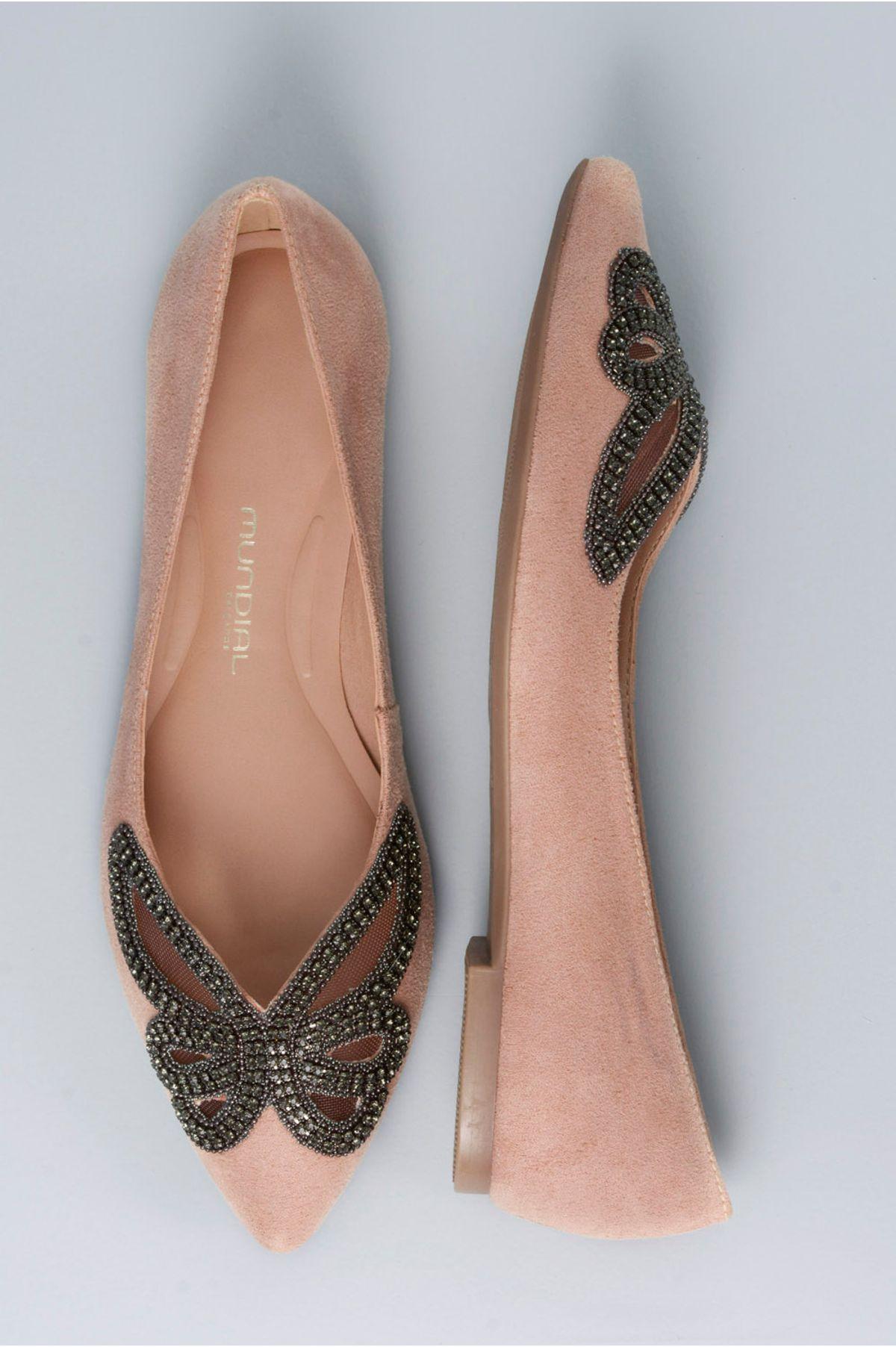 c099627acb Sapatilha Feminina Bico Fino Arely Mundial CAM - NUDE - Mundial Calçados