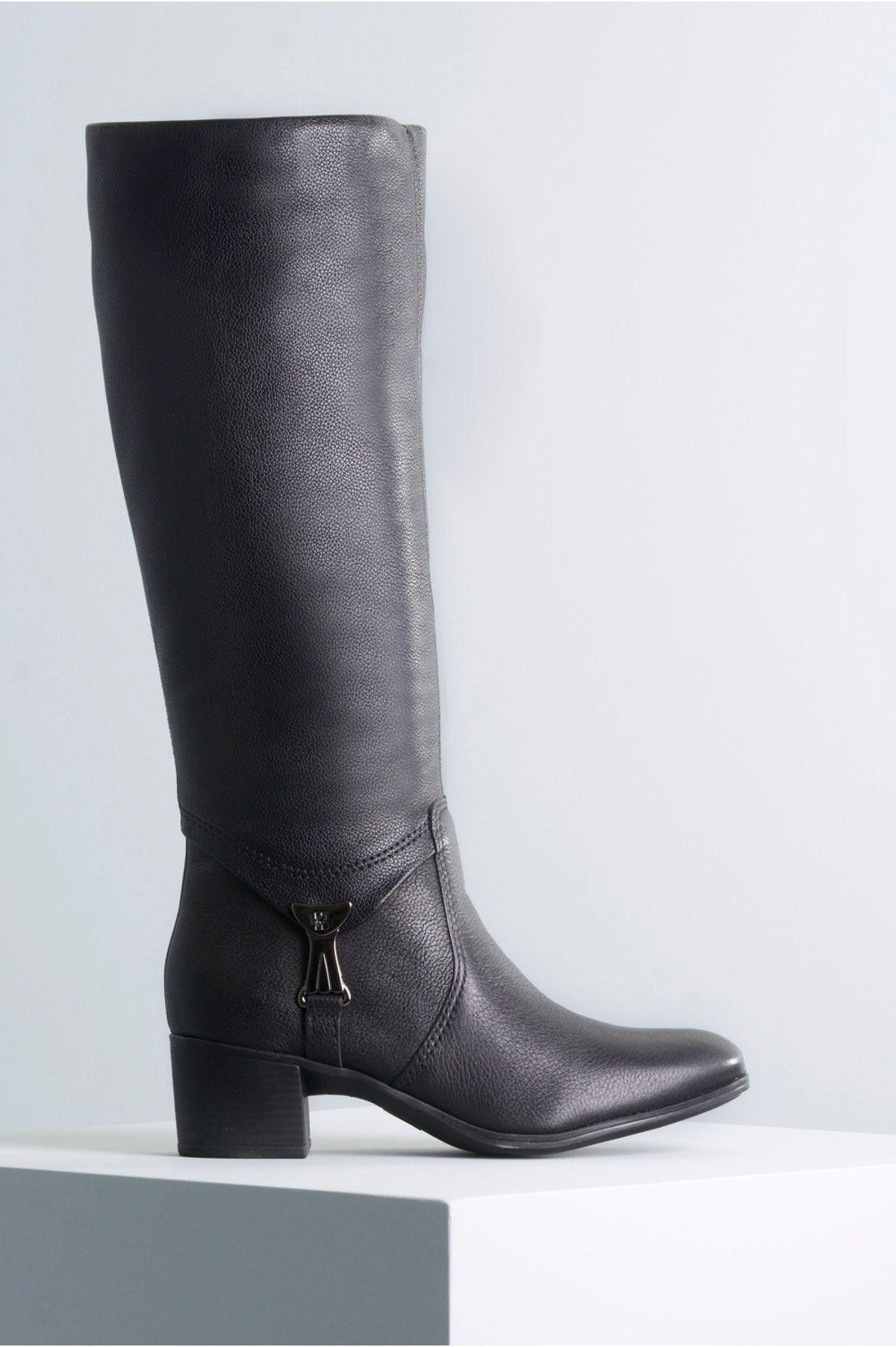 39bdf11709 Bota Feminina Salto Médio Mileidy Bottero CR-PRETO - Mundial Calçados
