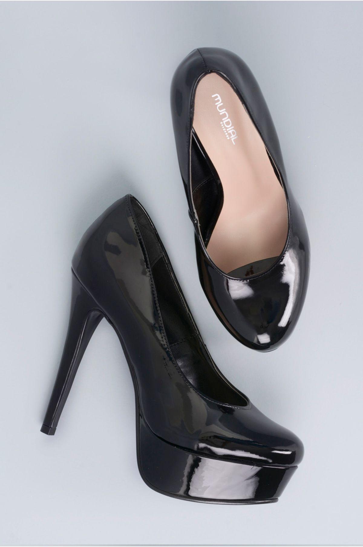 ab59564962 Sapato Feminino Salto Alto Lone Mundial VERNIZ PRETO - Mundial Calçados
