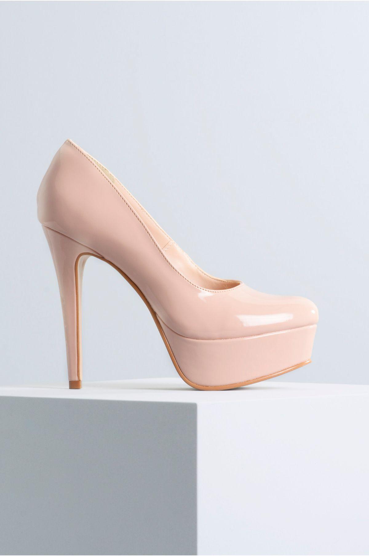 9665cfc741 Sapato Feminino Salto Alto Lone Mundial VERNIZ - NATURAL - Mundial ...