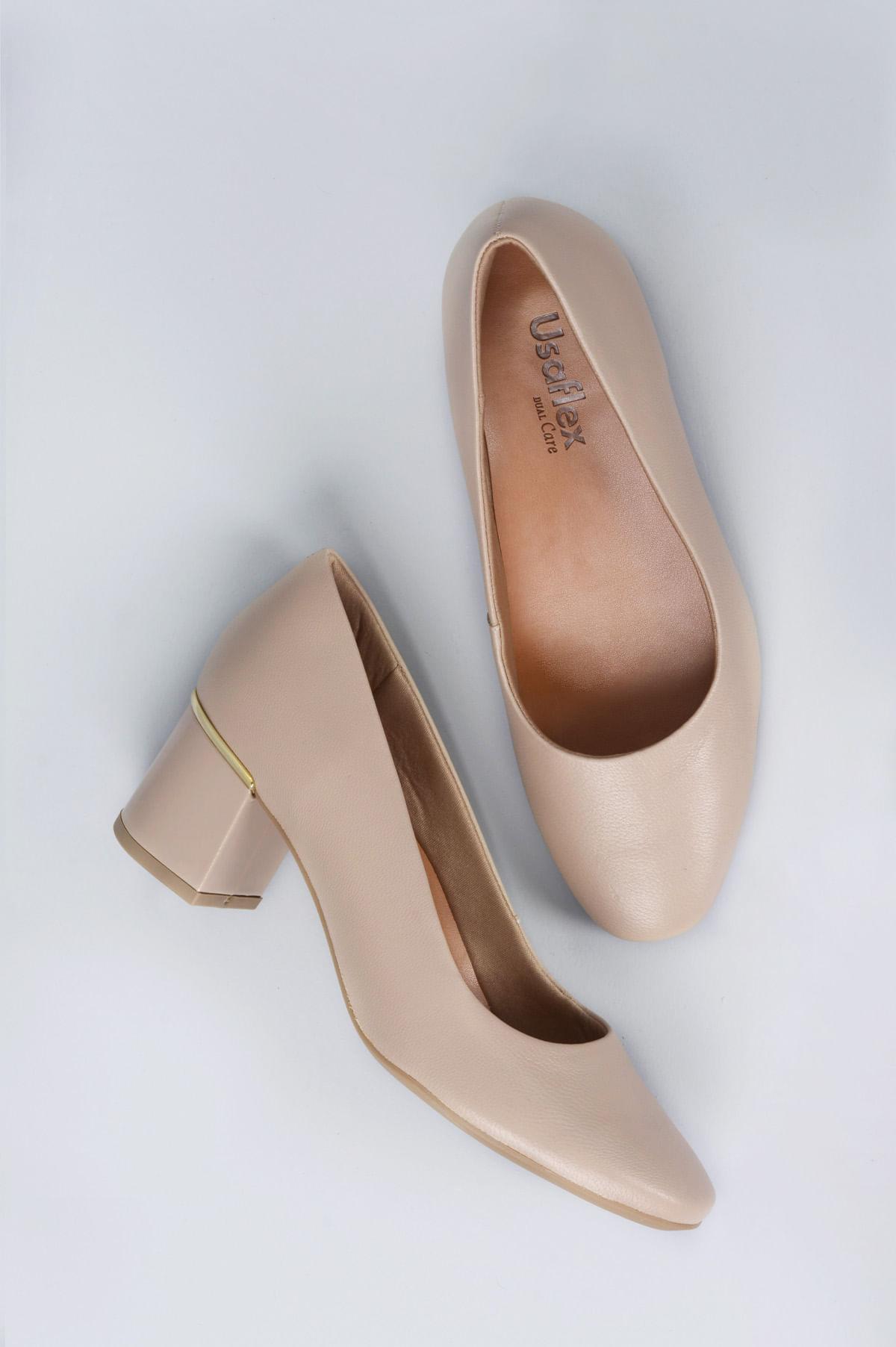 cdedcfab6 Sapato Feminino Salto Médio Suzie Usaflex CR - BEGE - Mundial Calçados