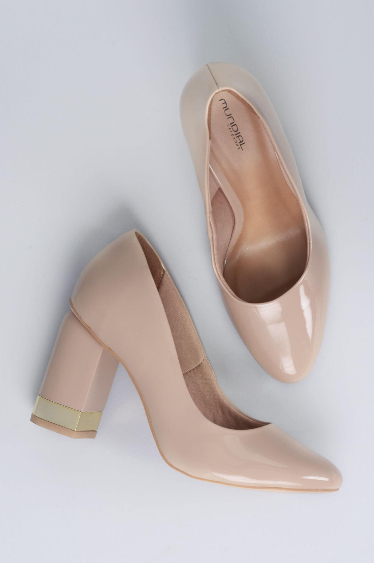 7c46116f20 Sapato Feminino Salto Alto Sable Mundial VERNIZ - BEGE - Mundial ...