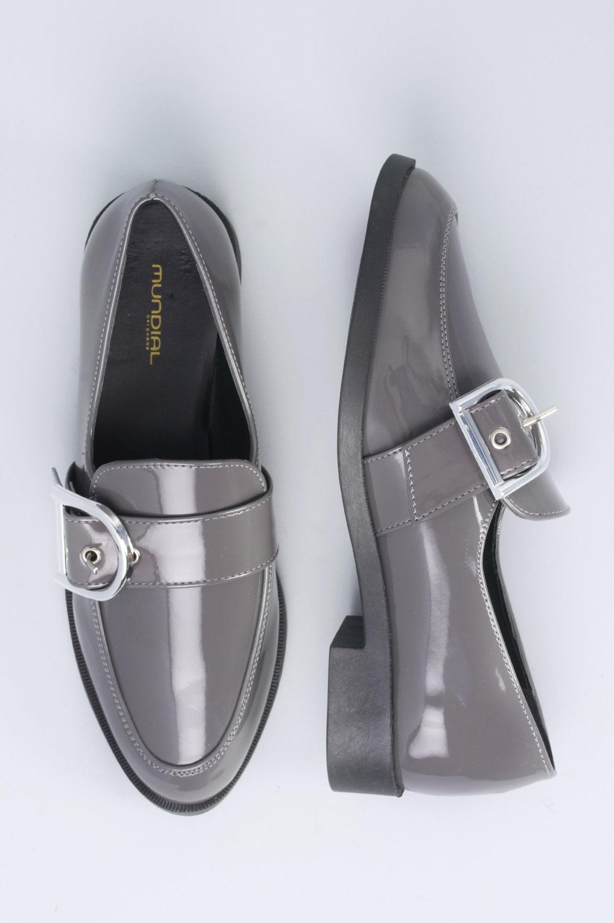 829e7cf71 Sapato Feminino Salto Baixo Ayala Mundial VERNIZ - CINZA - Mundial ...