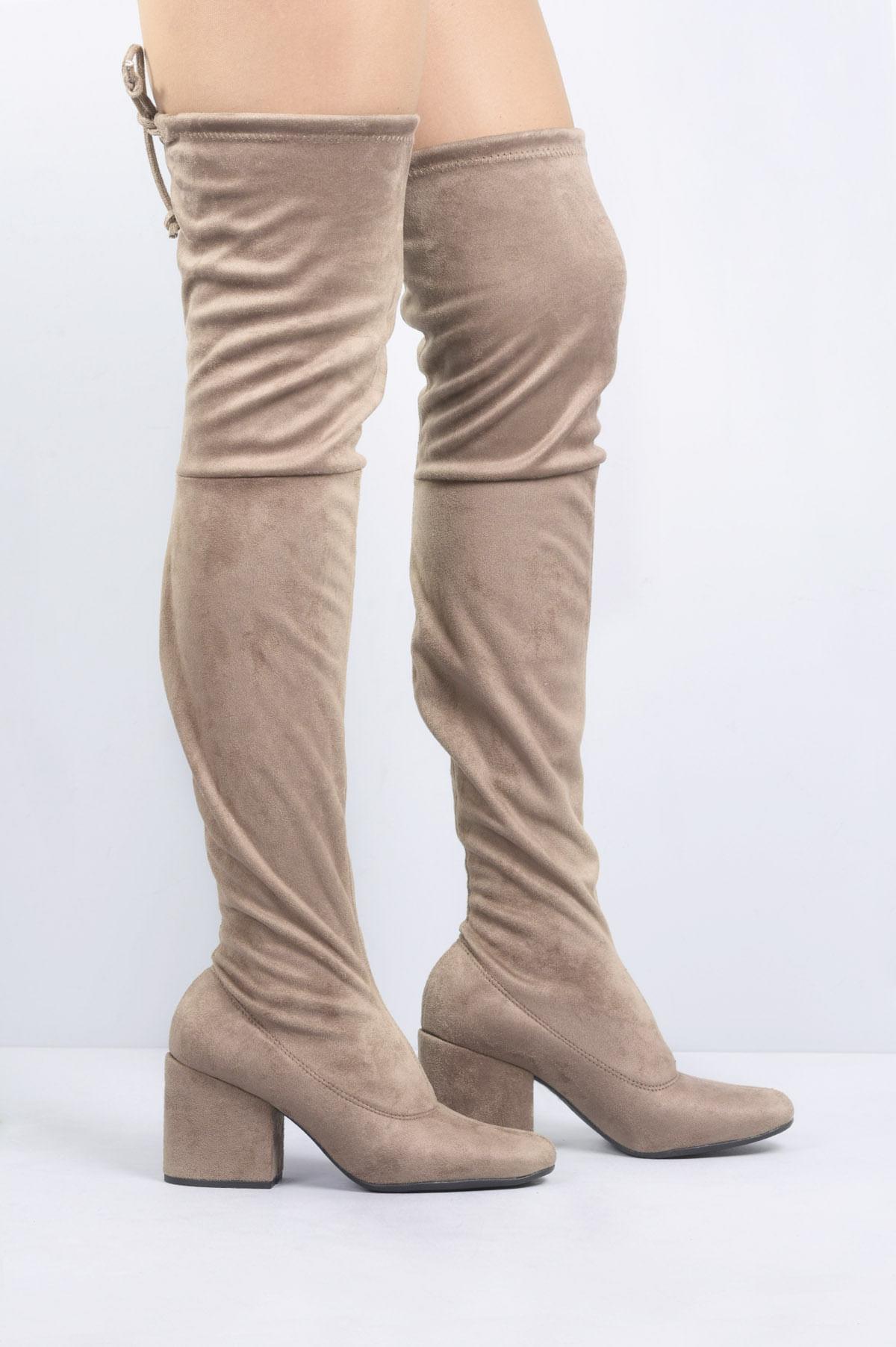 ac2d51826af Bota Feminina Salto Alto Blair Mundial CAMURÇA CINZA - Mundial Calçados