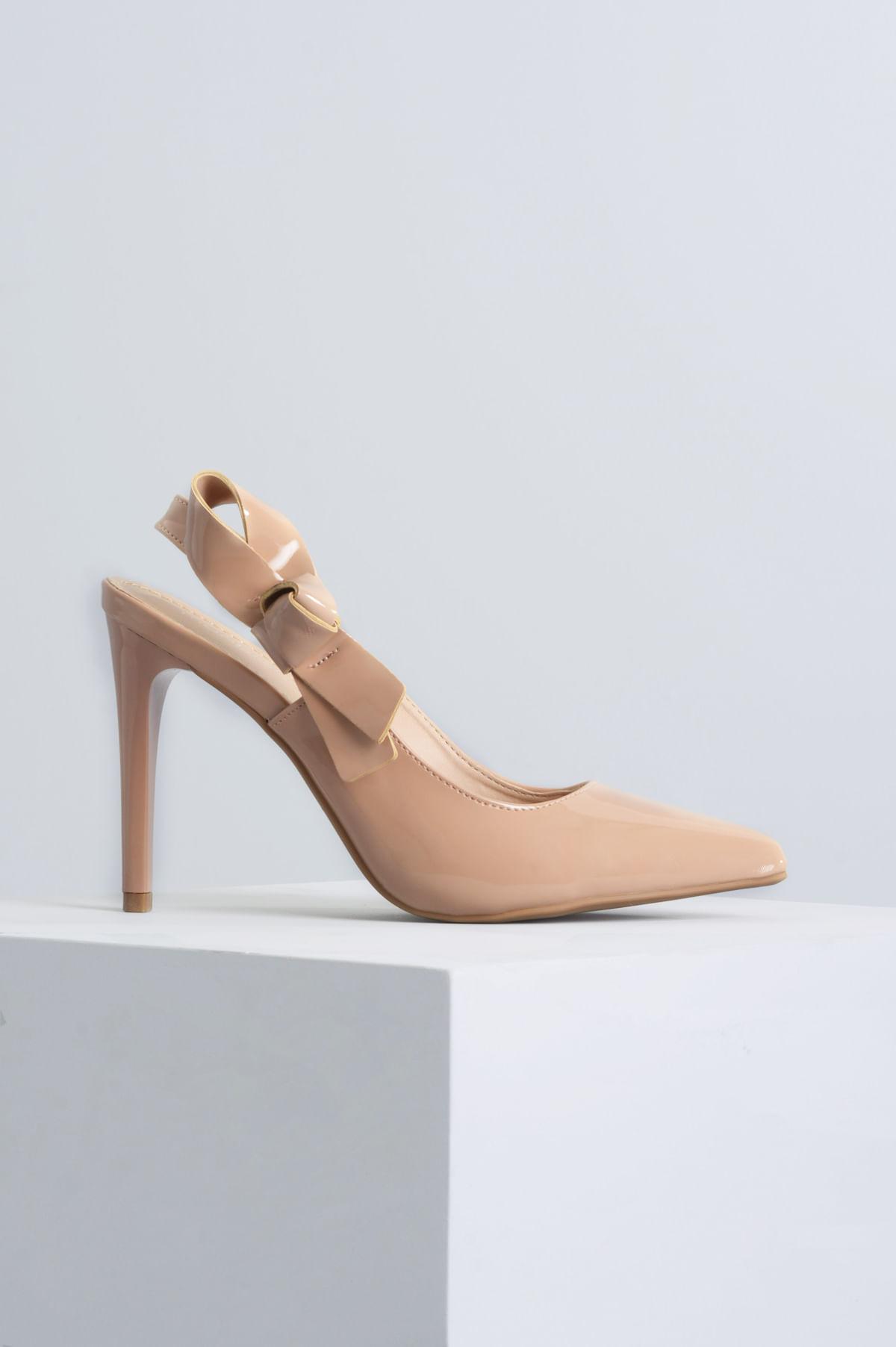 ab1a88dcfe Scarpin Salto Alto Chirstina Mundial VERNIZ - NUDE - Mundial Calçados