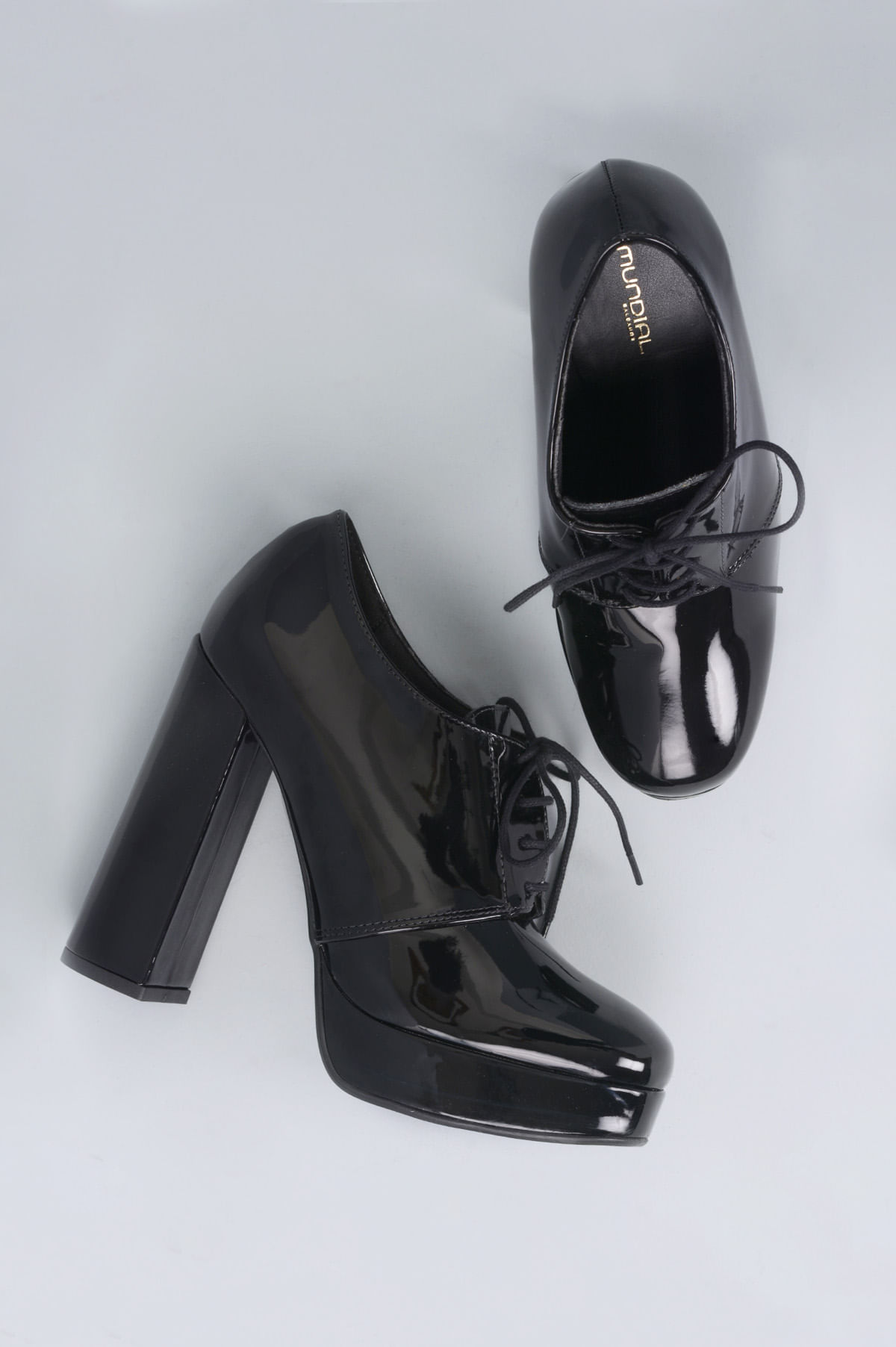 a975ffa86 Oxford Feminino Salto Alto John Mundial VERNIZ PRETO - Mundial Calçados