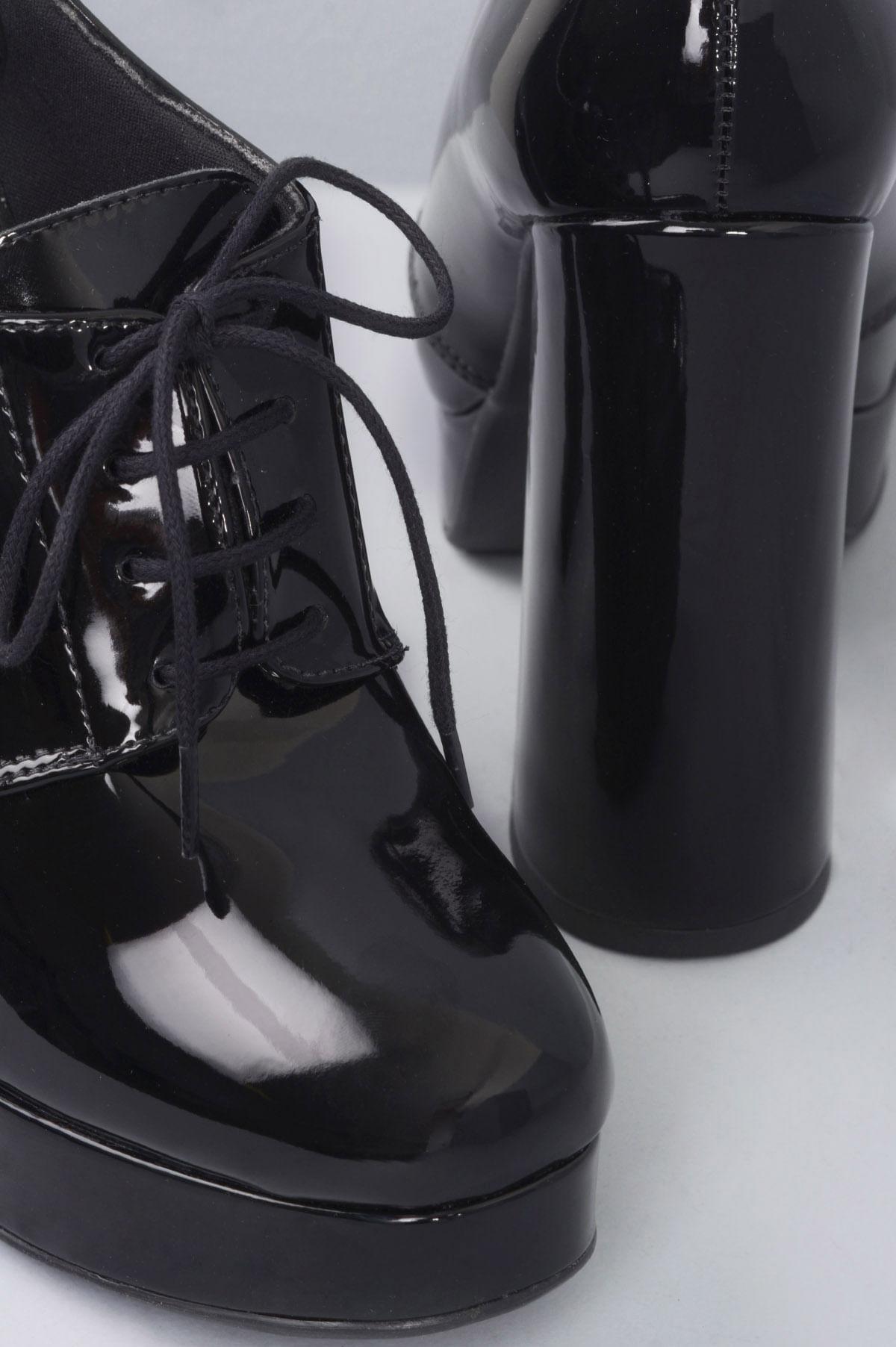 5636b97430 Oxford Feminino Salto Alto John Mundial VERNIZ PRETO - Mundial Calçados