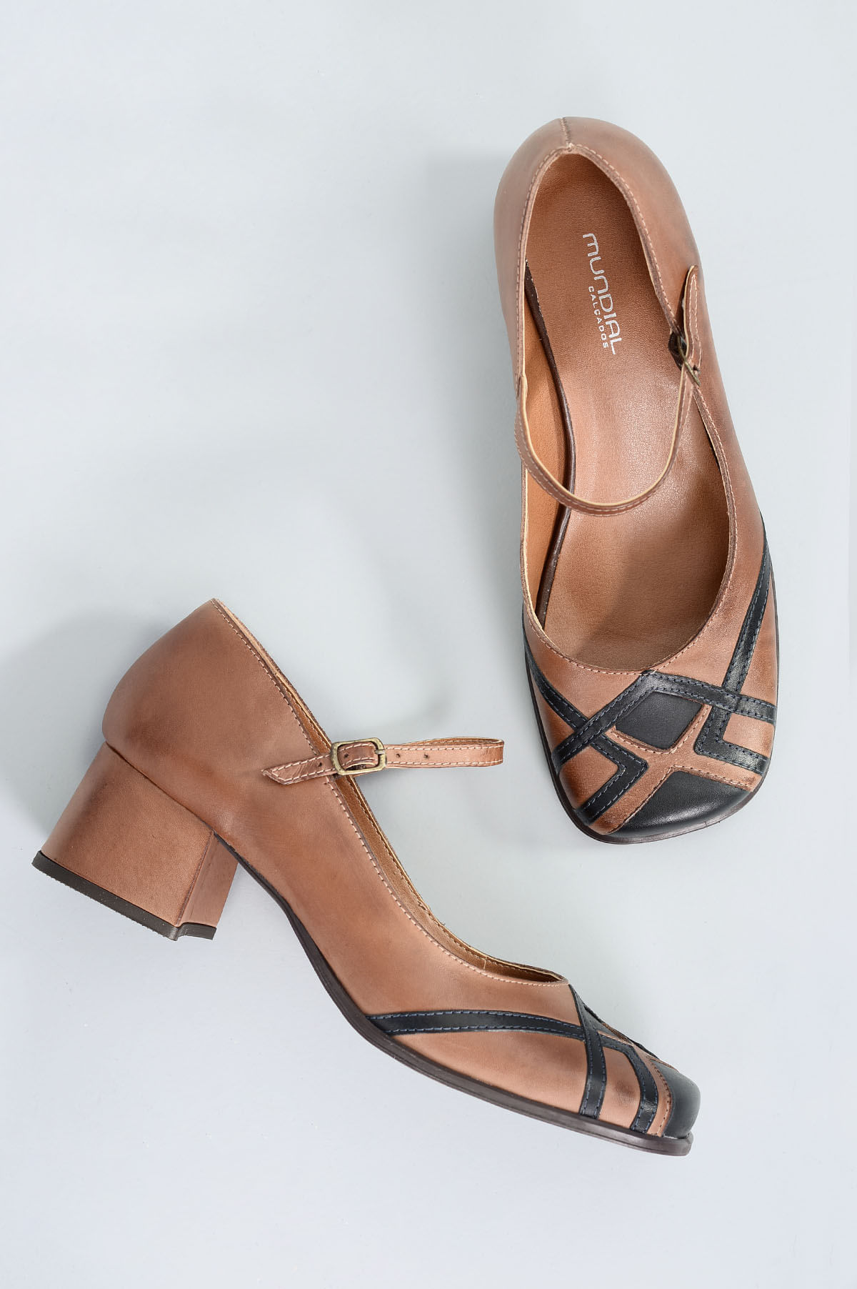 c71e22c28 Sapato Feminino Salto Médio Besty Mundial MARROM - Mundial Calçados