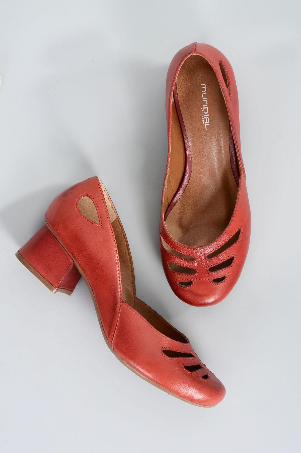 3427fb18ec Sapato Feminino Salto Médio Alexa Mundial CR-VERMELHO - Mundial Calçados