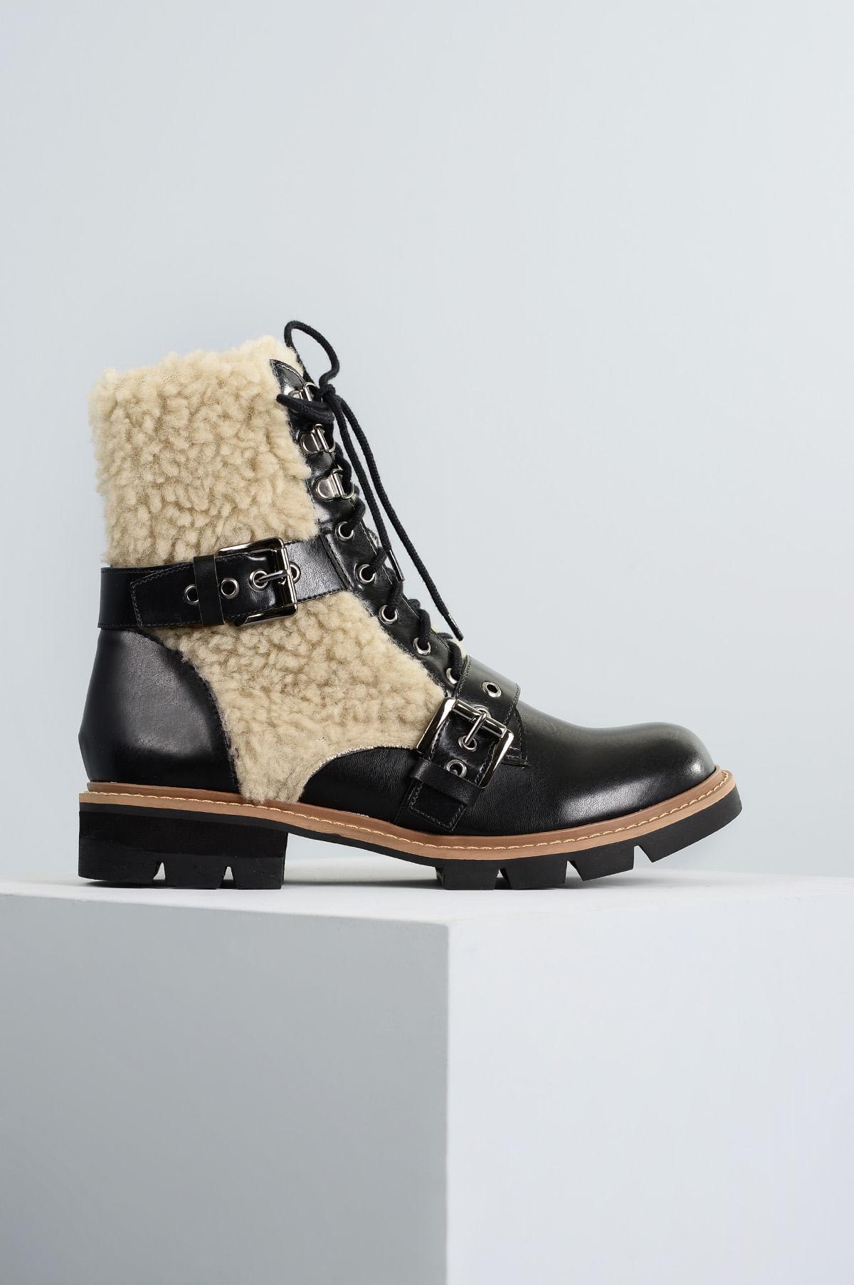Bota Coturno Courtney Mundial SINT - PRETO - Mundial Calçados 681a11dcd12