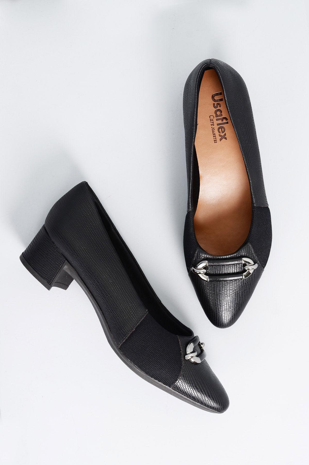 eeba6b385 Sapato Feminino Salto Baixo Pagie Usaflex CR-PRETO - Mundial Calçados