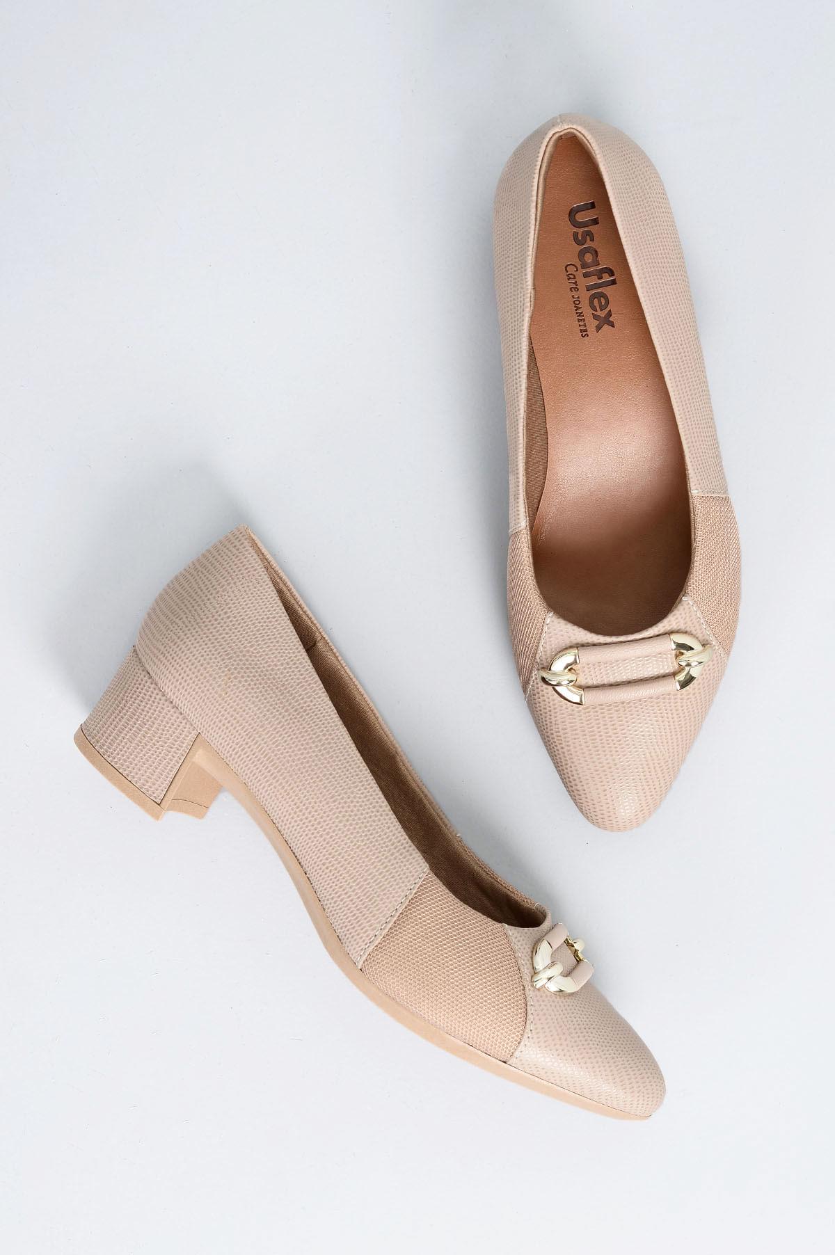 6fb797e1a Sapato Feminino Salto Baixo Pagie Usaflex CR - BEGE - Mundial Calçados