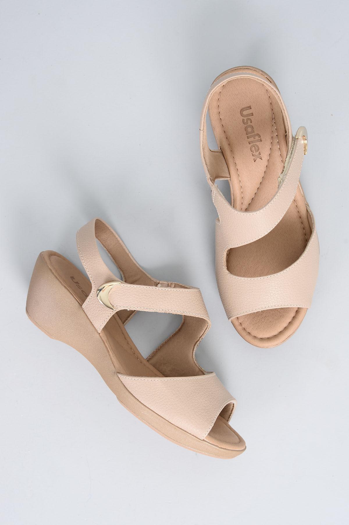 afcb6ec05 Sandália Feminina Salto Médio Sage Usaflex CR - BEGE - Mundial Calçados