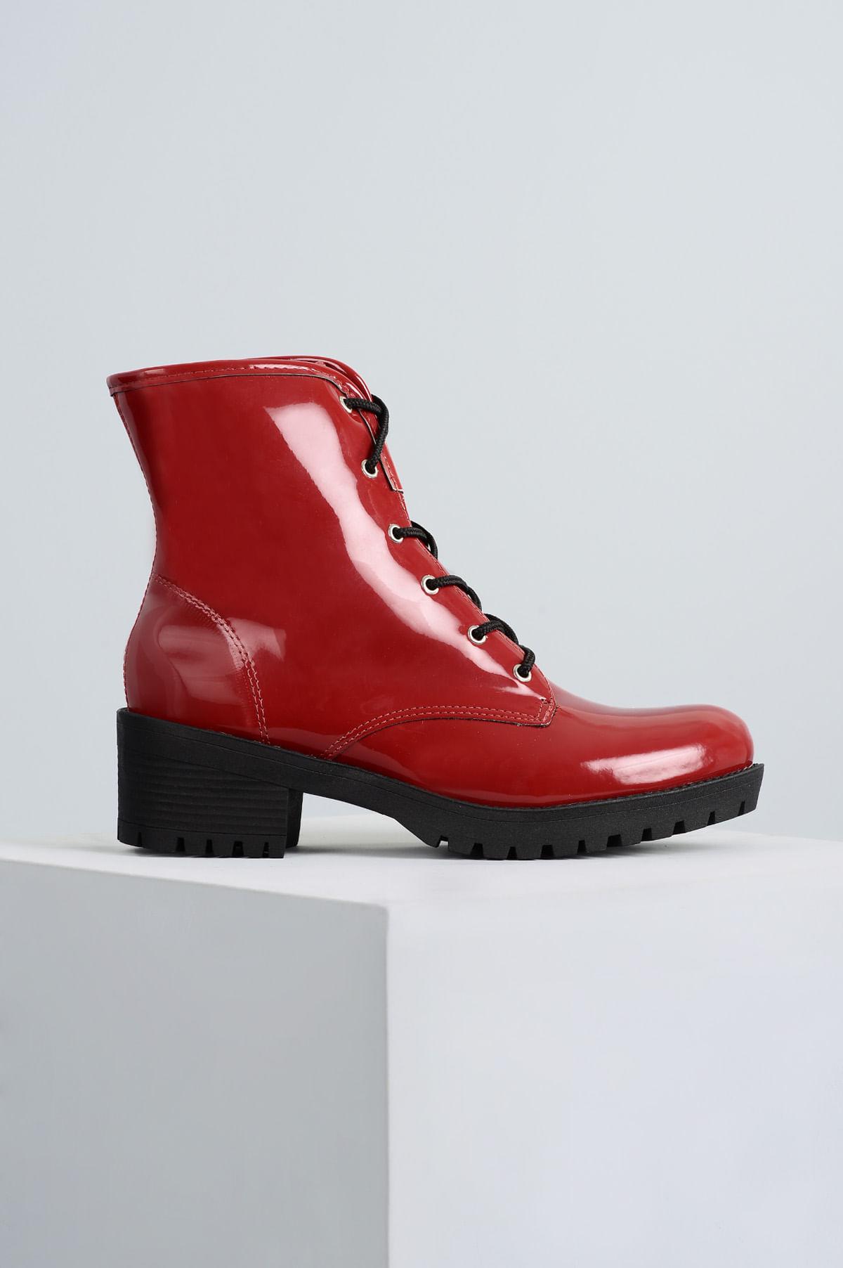 36f85f693c4 Bota Coturno Lolita Mundial VERNIZ - VERMELHO - Mundial Calçados