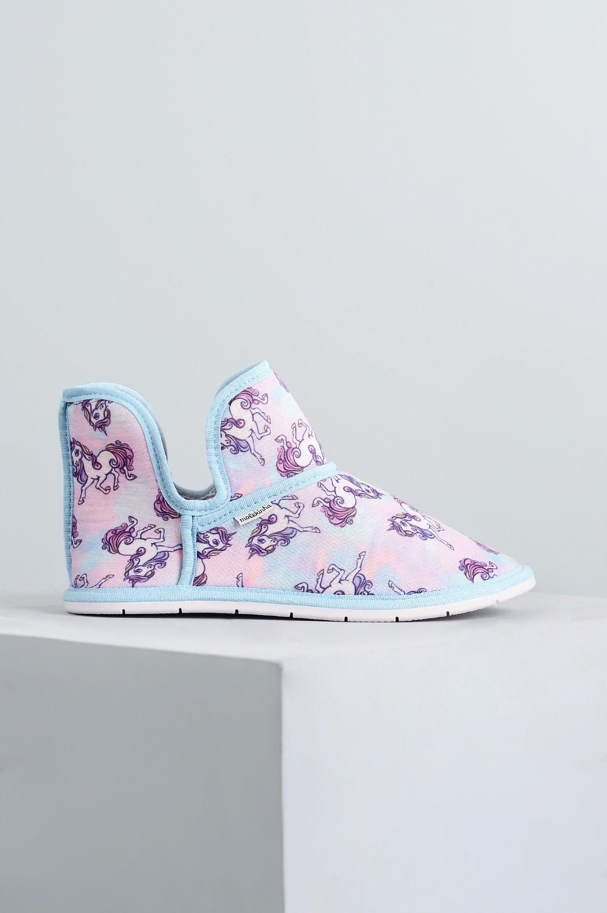 51d1df38bf5 Pantufa Infantil Unicórnio Molekinha TEC - AZUL - Mundial Calçados
