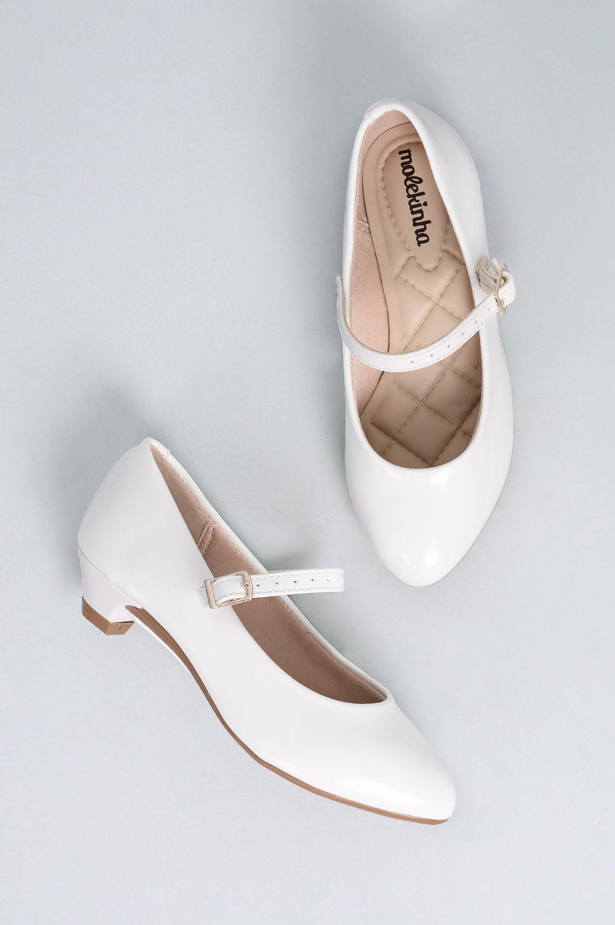 550164403 Sapato Infantil Molekinha Poly VERNIZ - BRANCO - Mundial Calçados