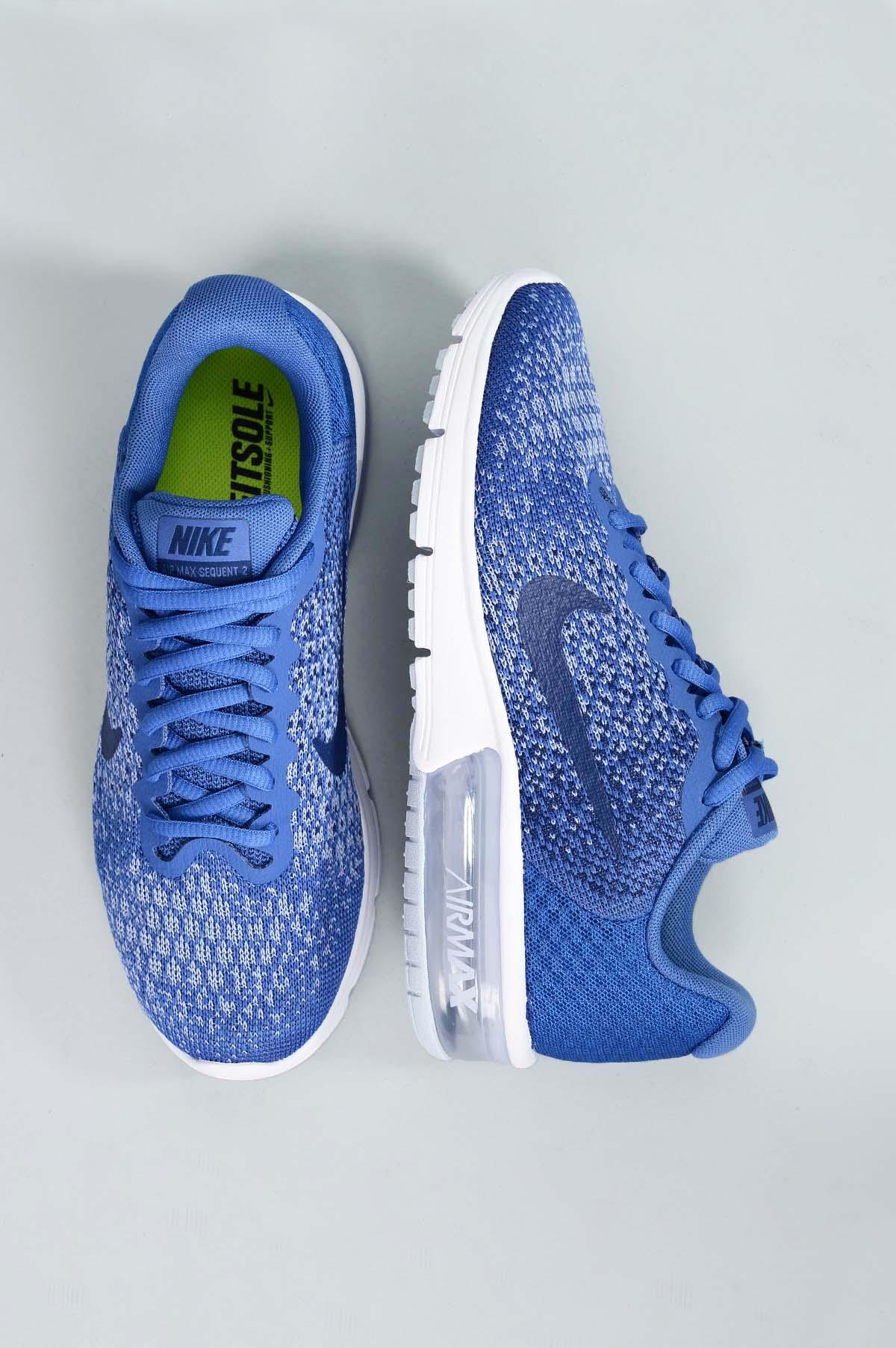 Tênis Feminino Nike Air Max Sequent 2 TEC - AZUL - Mundial Calçados caf74241ba687
