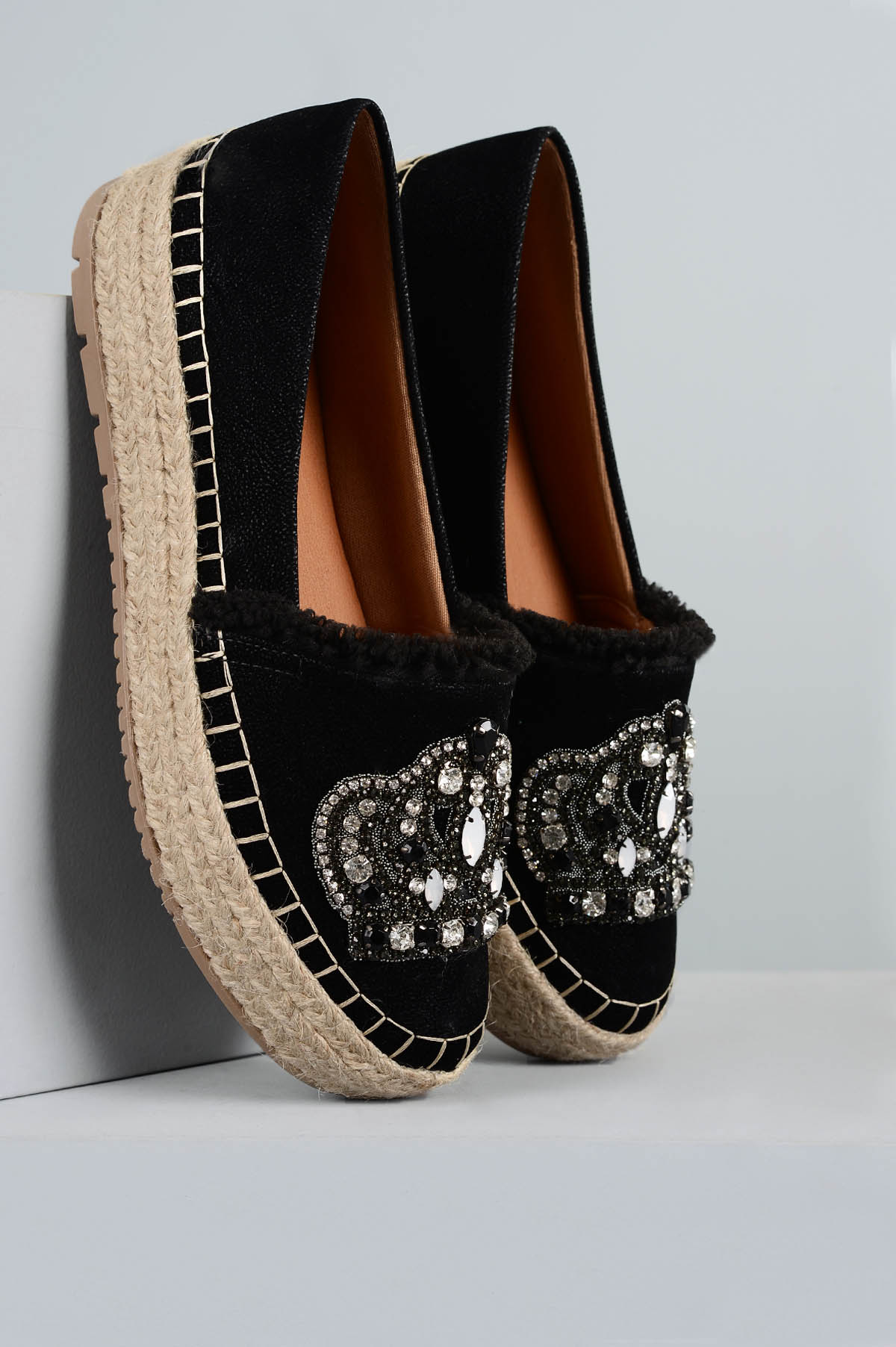 e9c76c7866f66 Sapato Feminino Espadrille Coroa Mundial NB - PRETO - Mundial Calçados