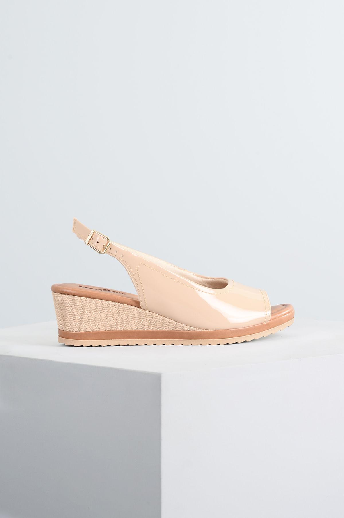 238df73a0 Sandália Feminina Anabela Yone Usaflex VERNIZ - NUDE - Mundial Calçados