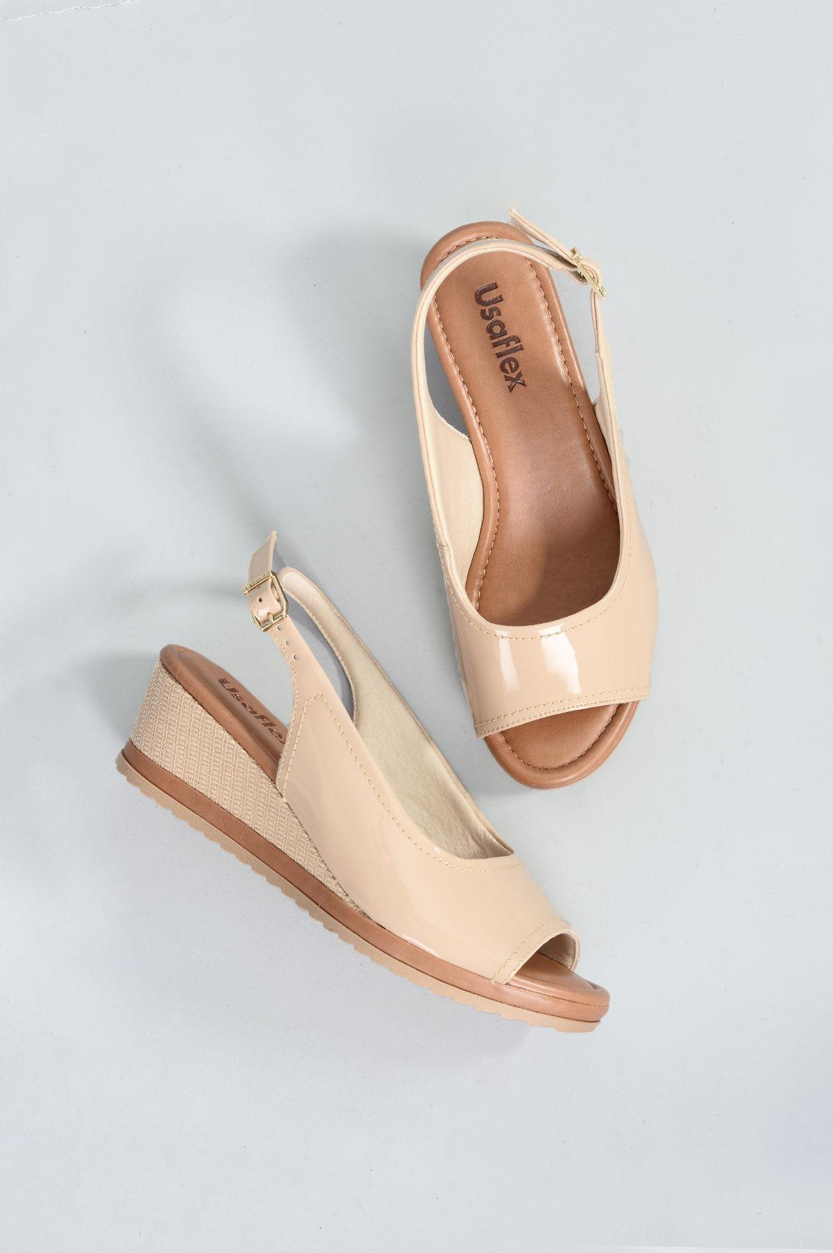 7bcbd0c41b Sandália Feminina Anabela Yone Usaflex VERNIZ - NUDE - Mundial Calçados