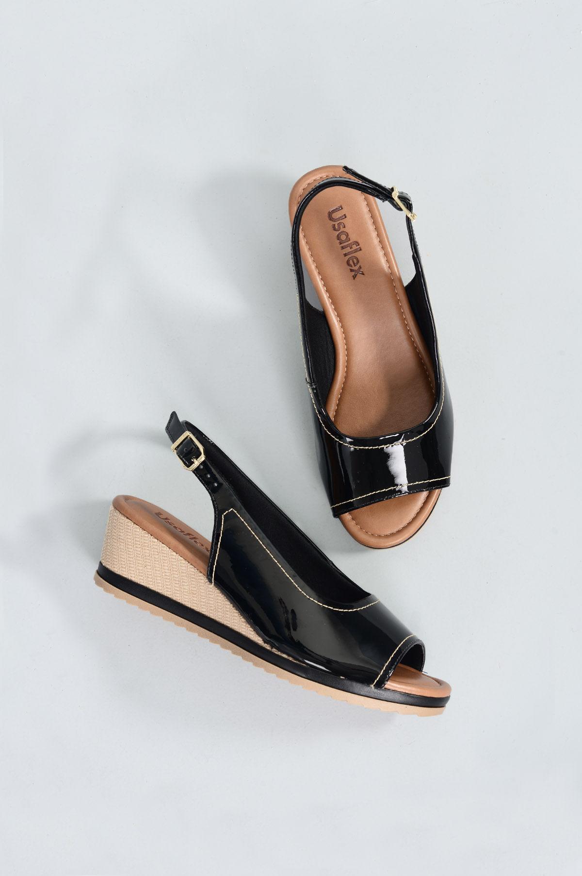 65e1c0d9c Sandália Feminina Anabela Yone Usaflex VERNIZ PRETO - Mundial Calçados