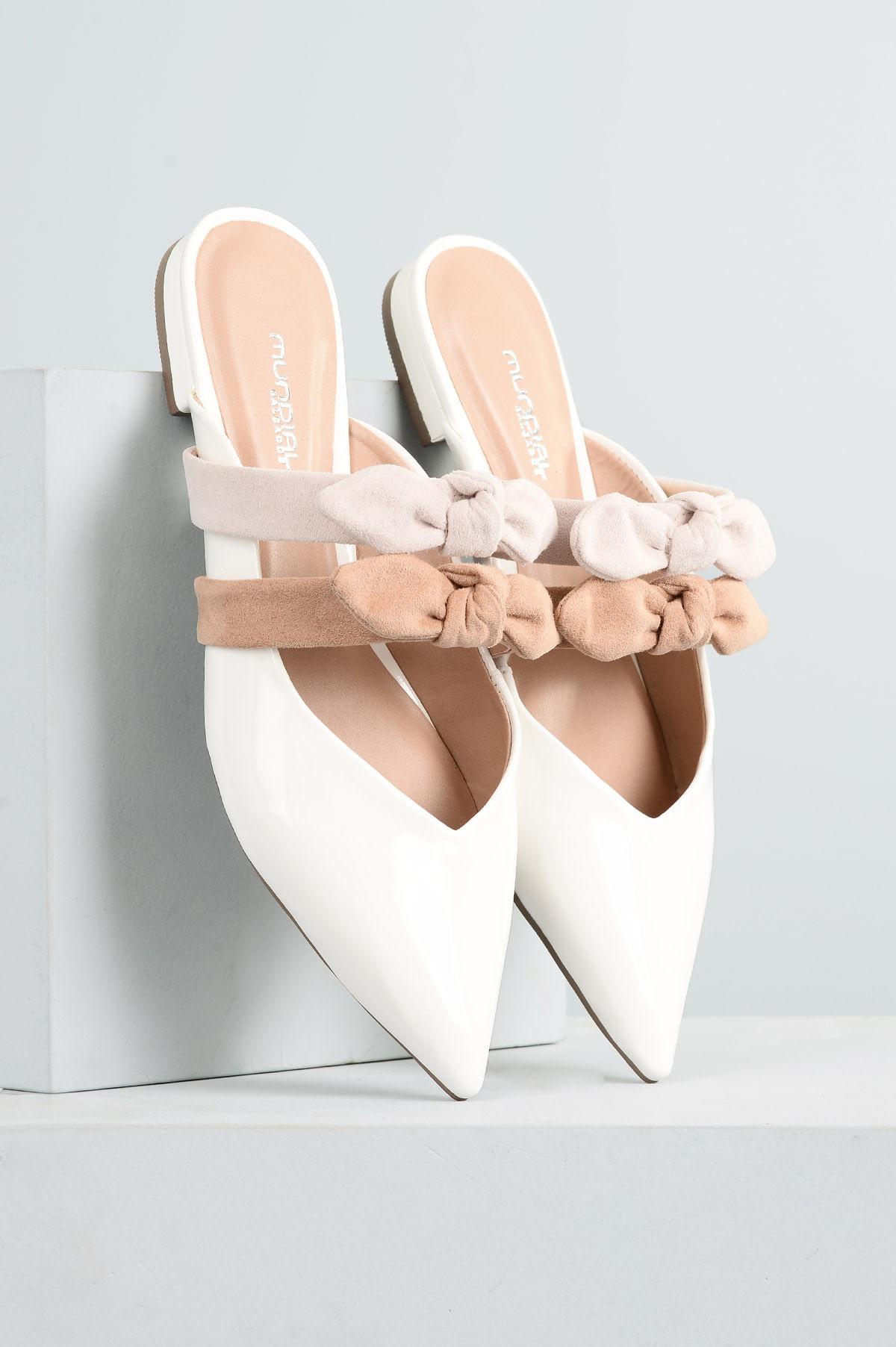 2fada9b418 Mule Feminino Nayara Mundial VERNIZ - BRANCO - Mundial Calçados