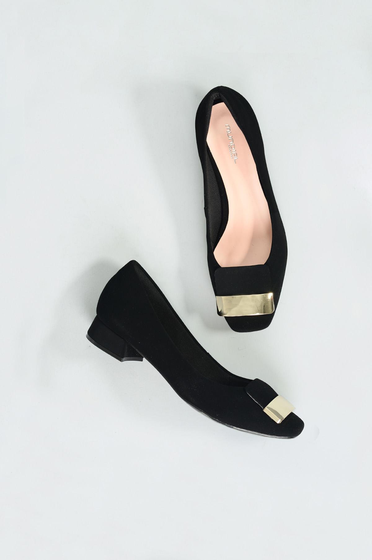 b6308b12b Sapato Feminino Salto Baixo Bethy Mundial NB - PRETO - Mundial Calçados