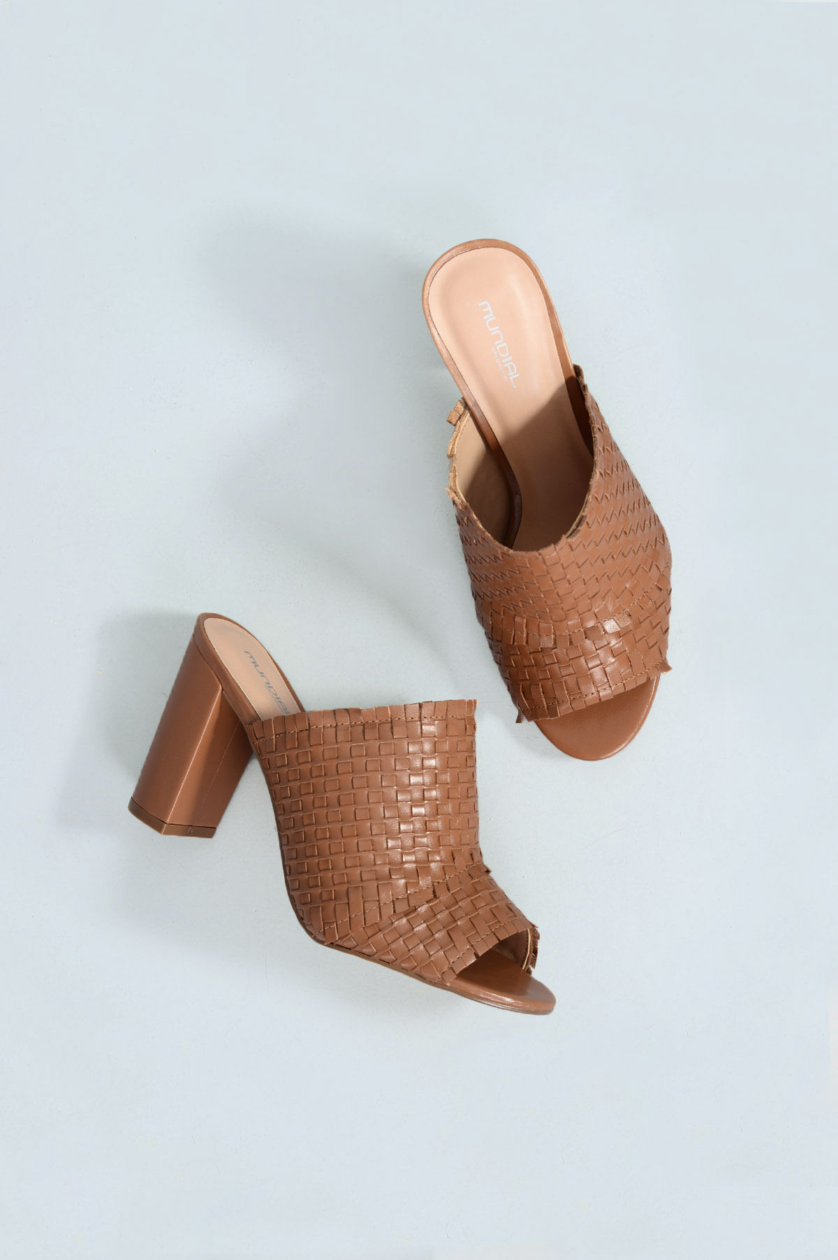 b2f8711546 Tamanco Feminino Salto Alto Ana Mundial CR-CARAMELO - Mundial Calçados
