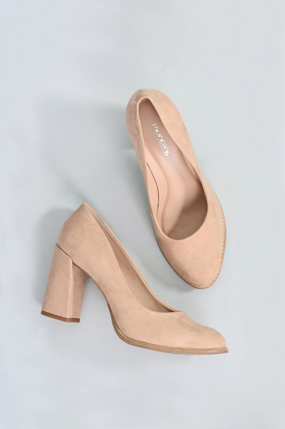 0a0356f0e9a31 Sapato Feminino Salto Alto Blaise Mundial CAM - NUDE - Mundial Calçados