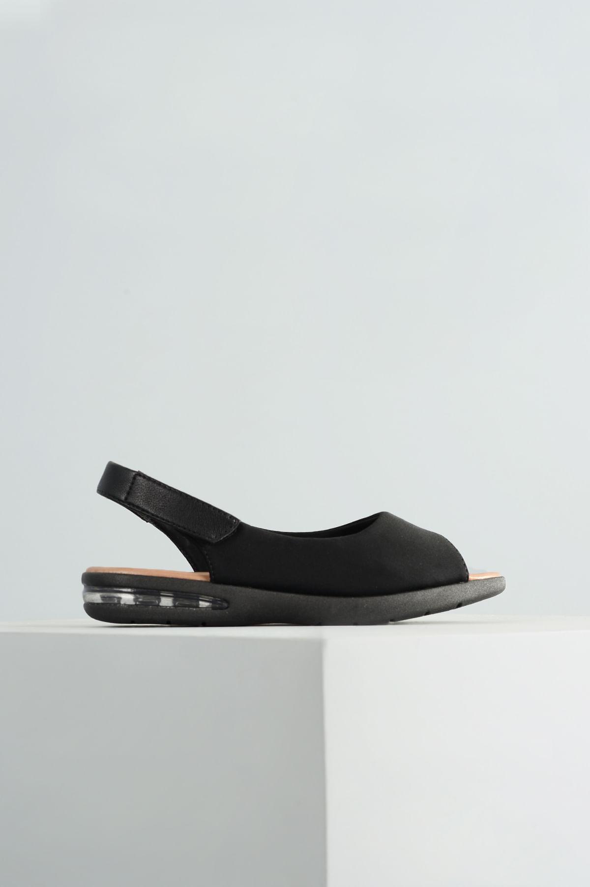 8d5eefbb26c5b Sandália Feminina Lycra Comfort Flex TEC - PRETO - Mundial Calçados