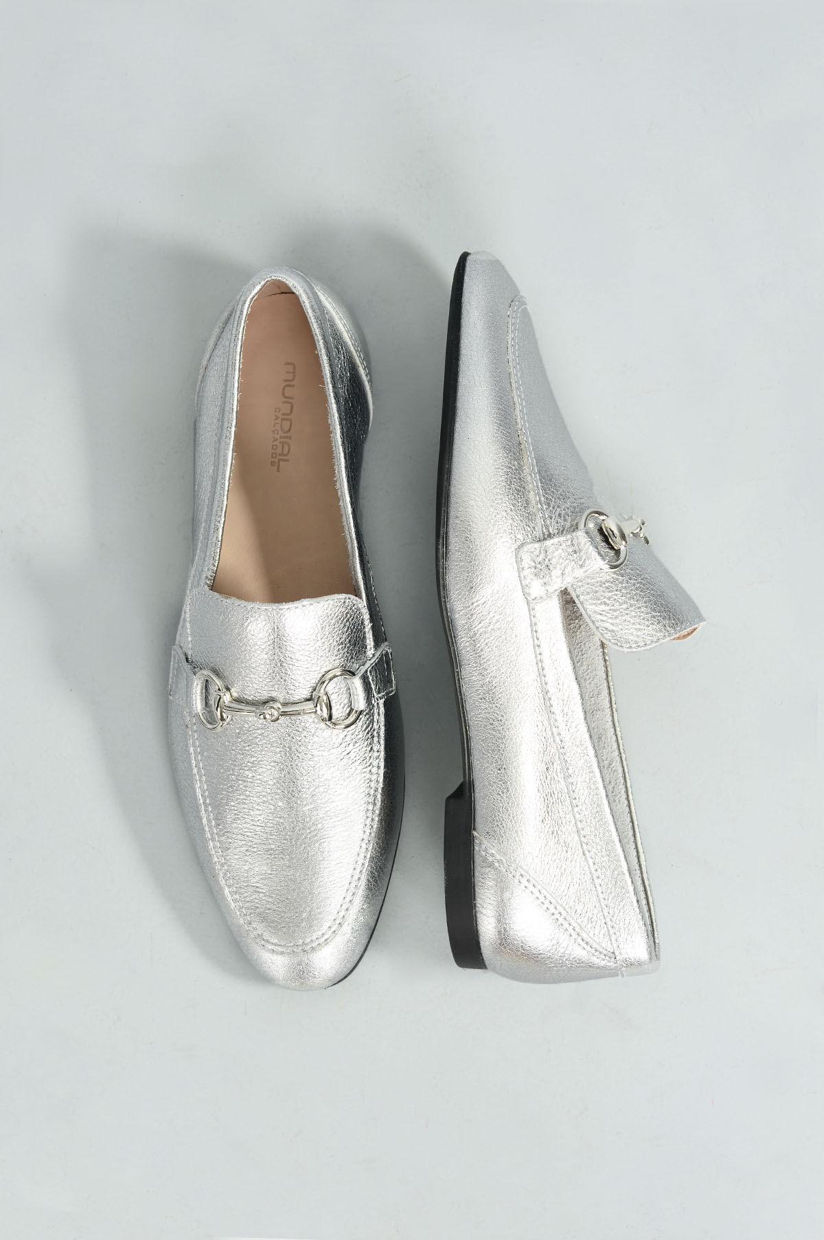 dc34c56581 Mocassim Feminino Milany Mundial CR - PRATA - Mundial Calçados