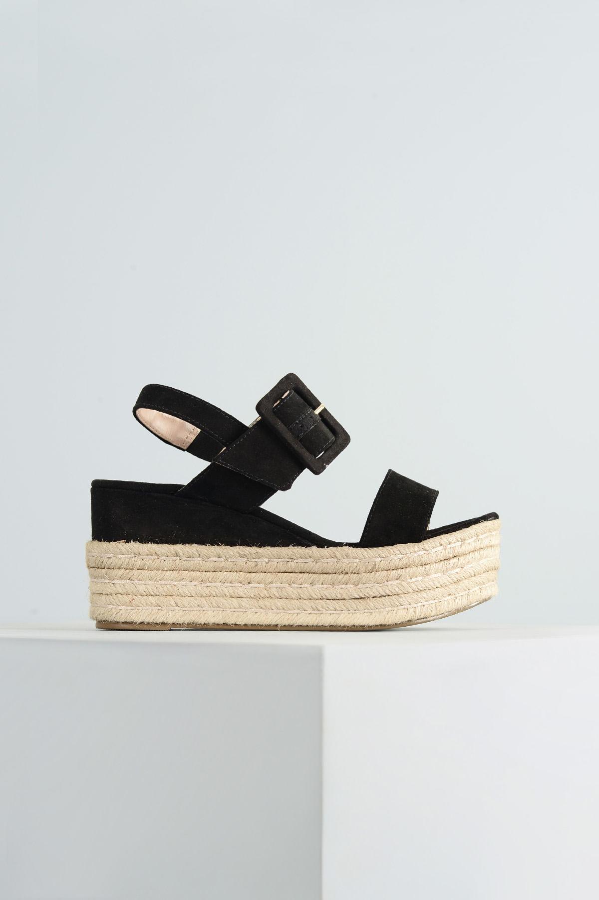 2f4ff008c Sandália Feminina Anabela Leiah Mundial CAM - PRETO - Mundial Calçados