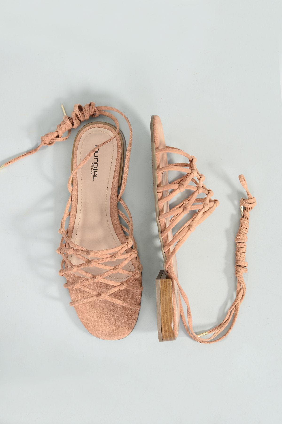 e41468385 Sandália Feminina Rasteira Marshal Mundial CAM - NUDE - Mundial Calçados