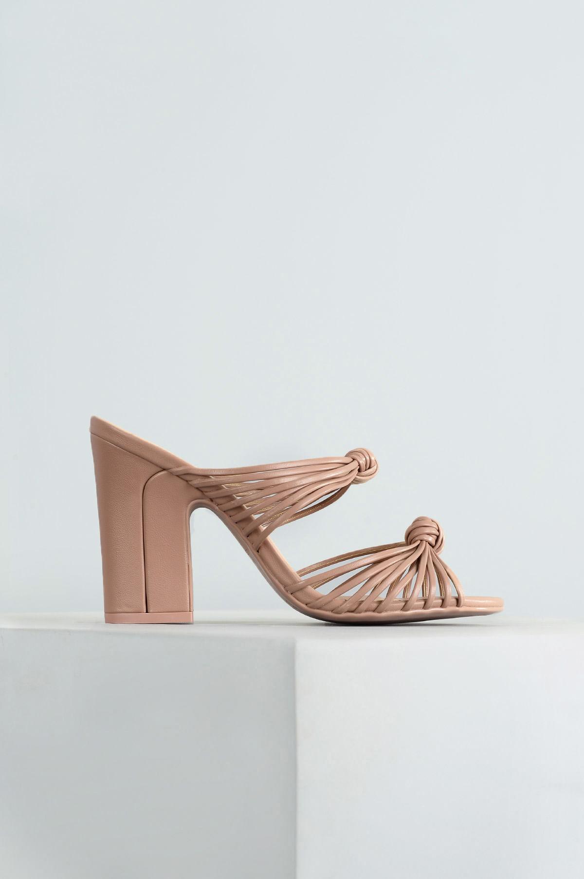 c788bf6416 Tamanco Feminino Salto Alto Benet Mundial SINT - NUDE - Mundial Calçados