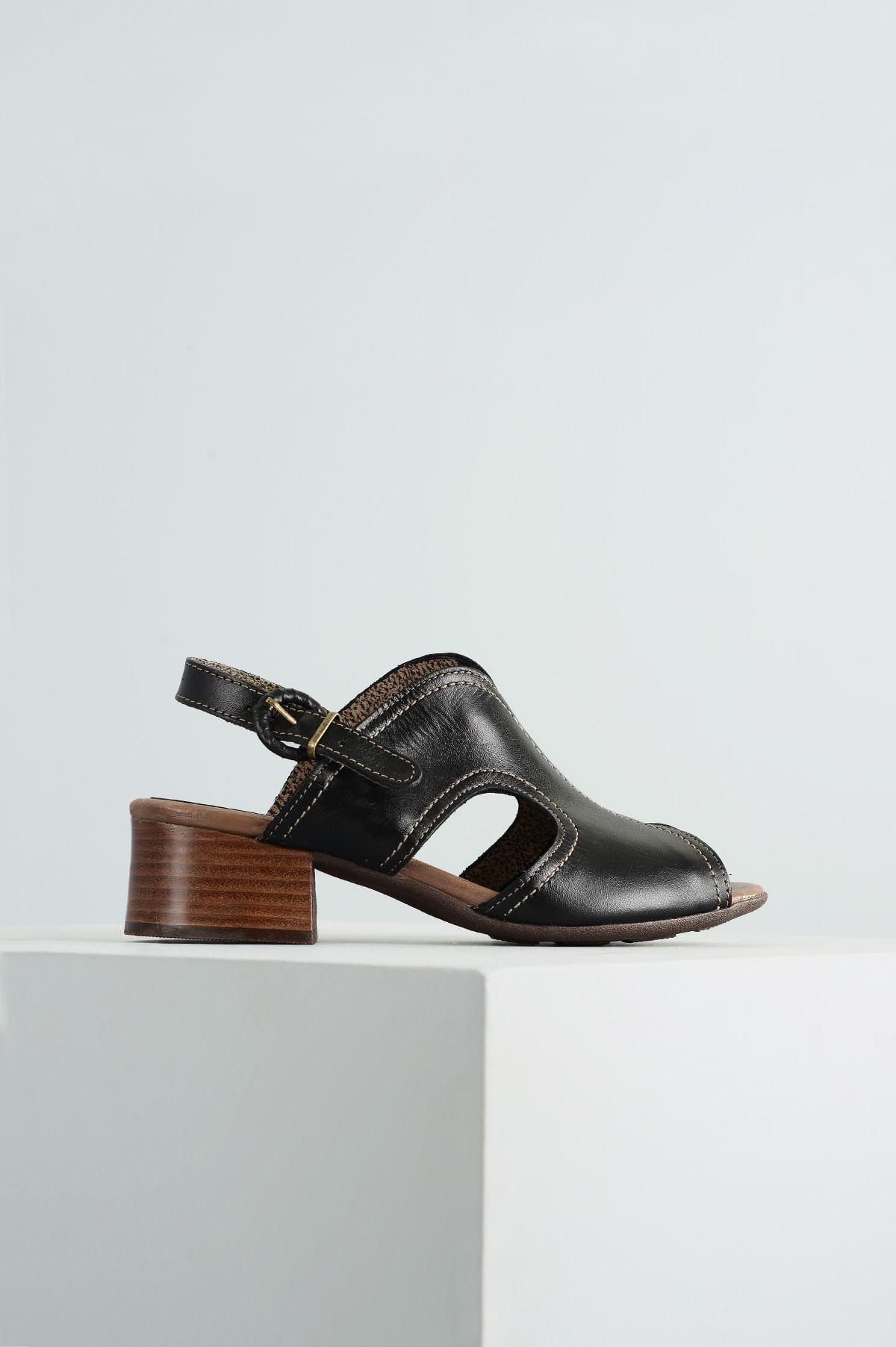 b4d476e56f Sandália Feminina Salto Médio Valie Mundial CR-PRETO - Mundial Calçados