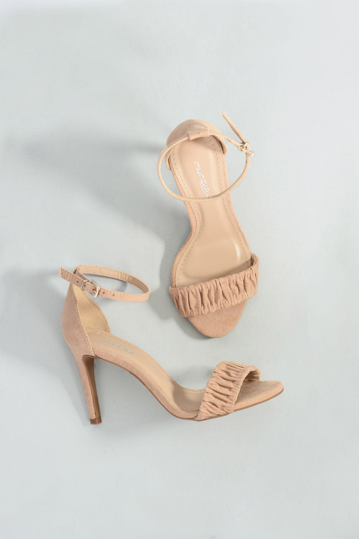 7ae388bd1 Sandália Feminina Salto Alto Kaira Mundial CAM - NUDE - Mundial Calçados